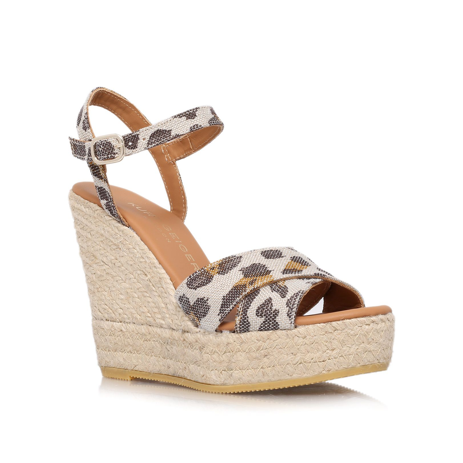Kurt Geiger Amerie High Wedge Heel Sandals In Silver