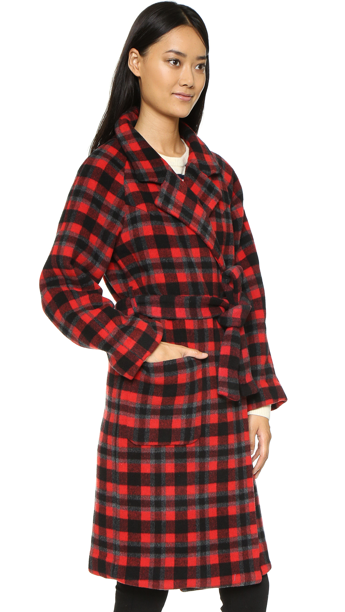 Ganni State Street Coat - Pompeian Red Check | Lyst
