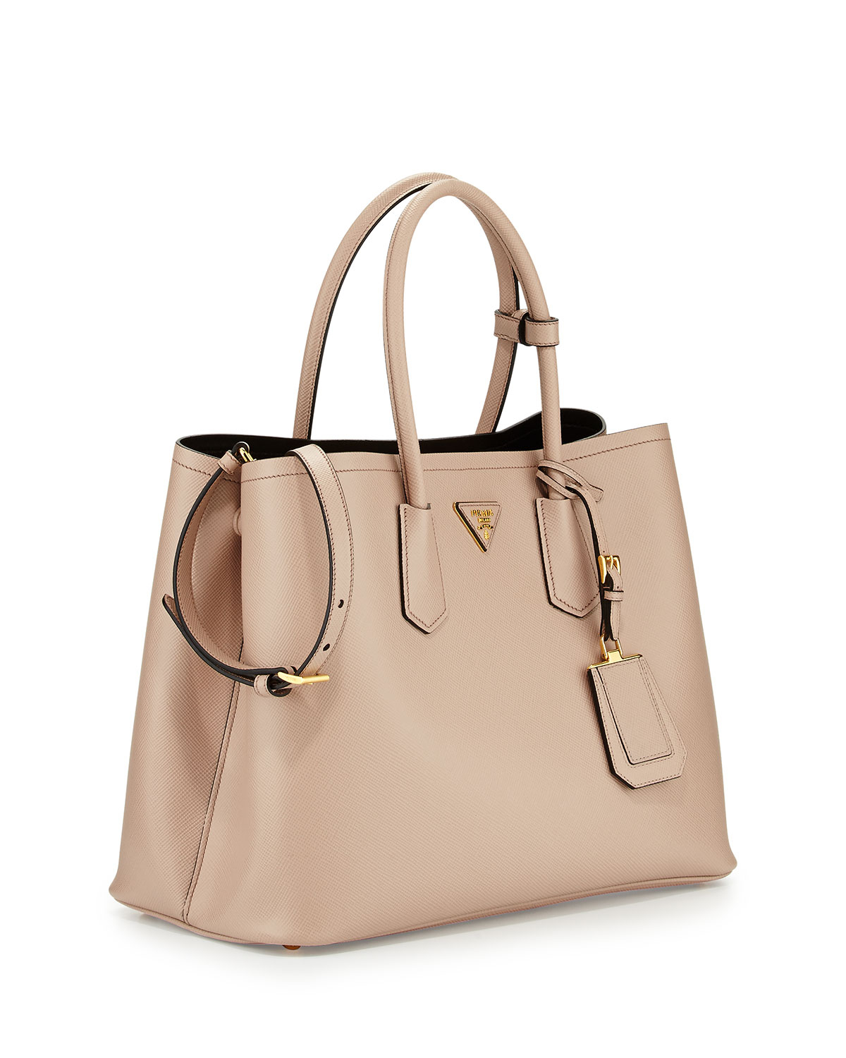 authentic prada handbags usa - Prada Saffiano Cuir Double Bag in Beige (TAN) | Lyst