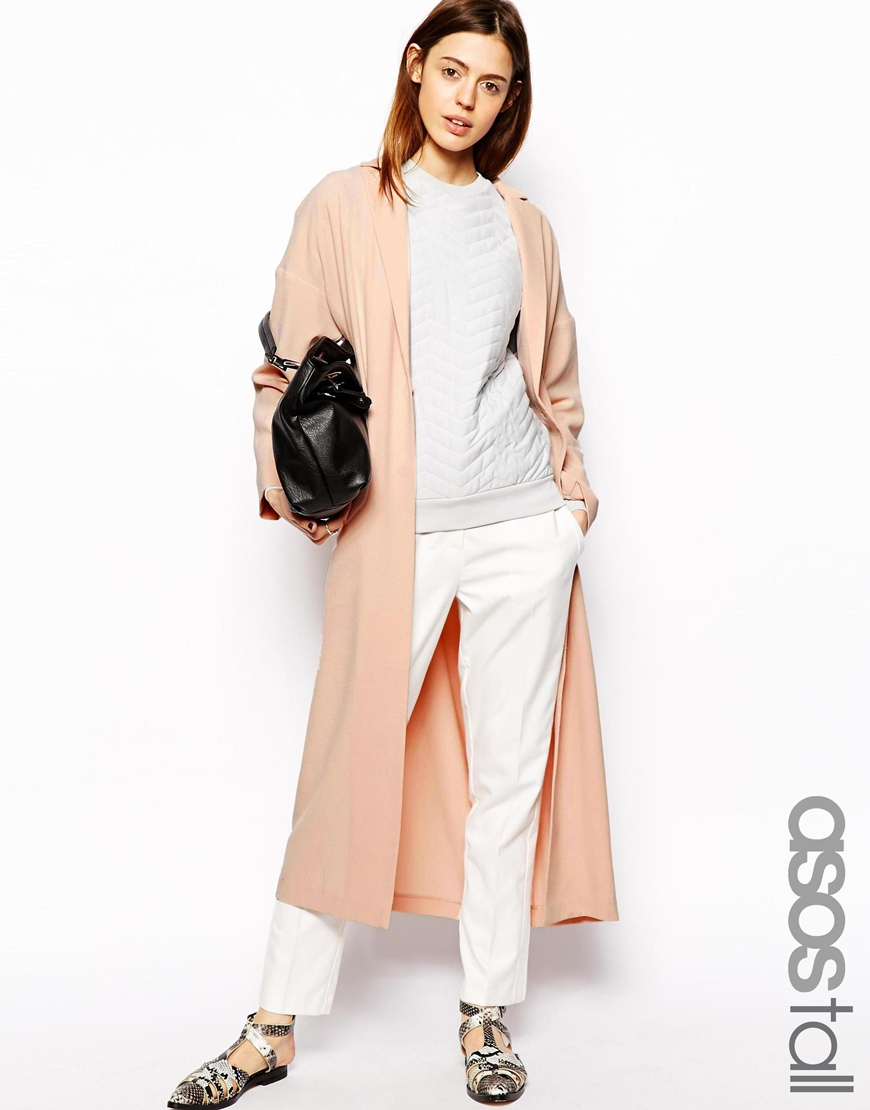 Lyst Asos Duster Coat In Pink