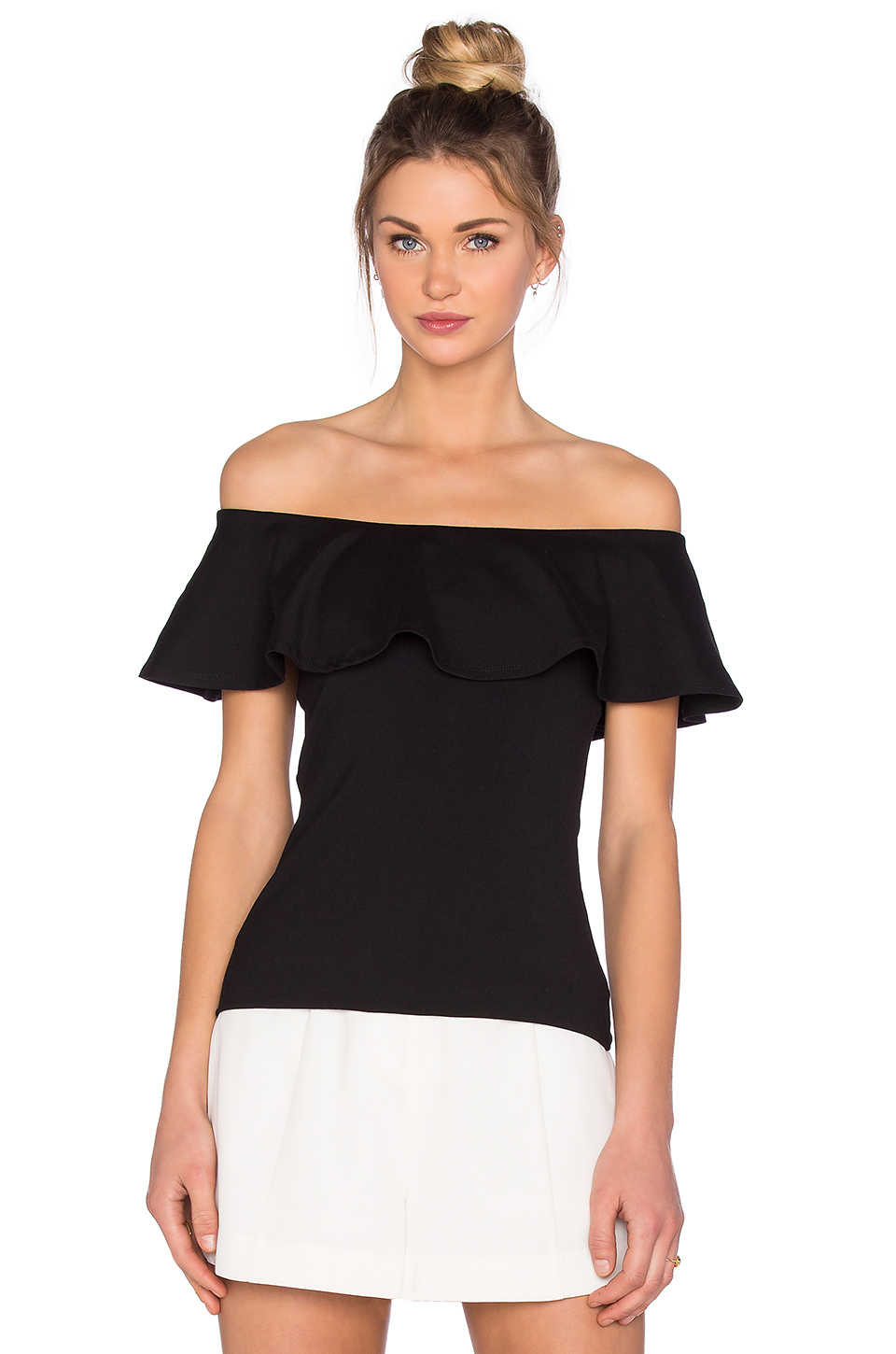 8201f57bf8e38 Lyst - Susana Monaco Ruffle Off The Shoulder Top in Black