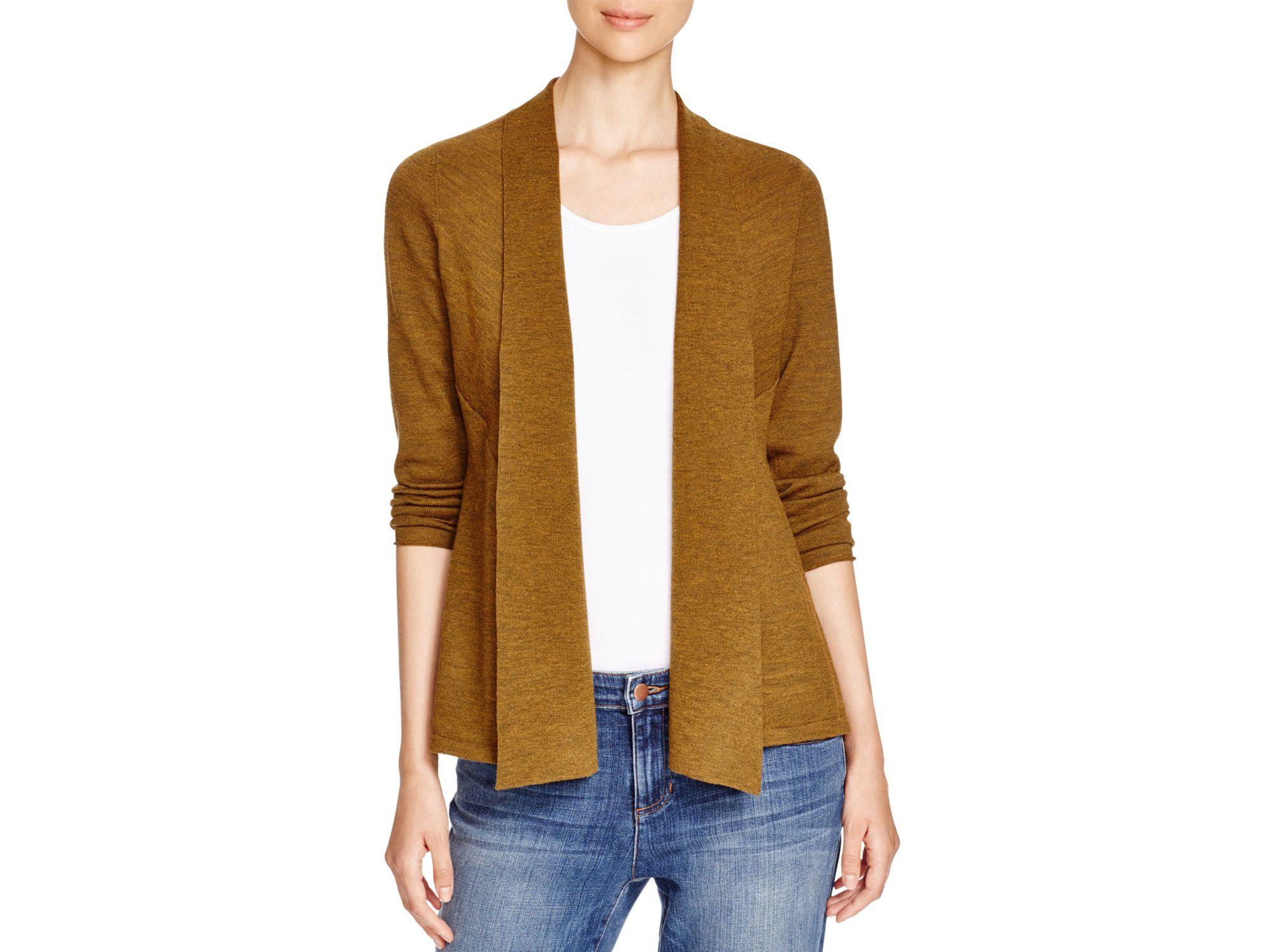Eileen fisher Wool Shawl Collar Cardigan in Brown | Lyst