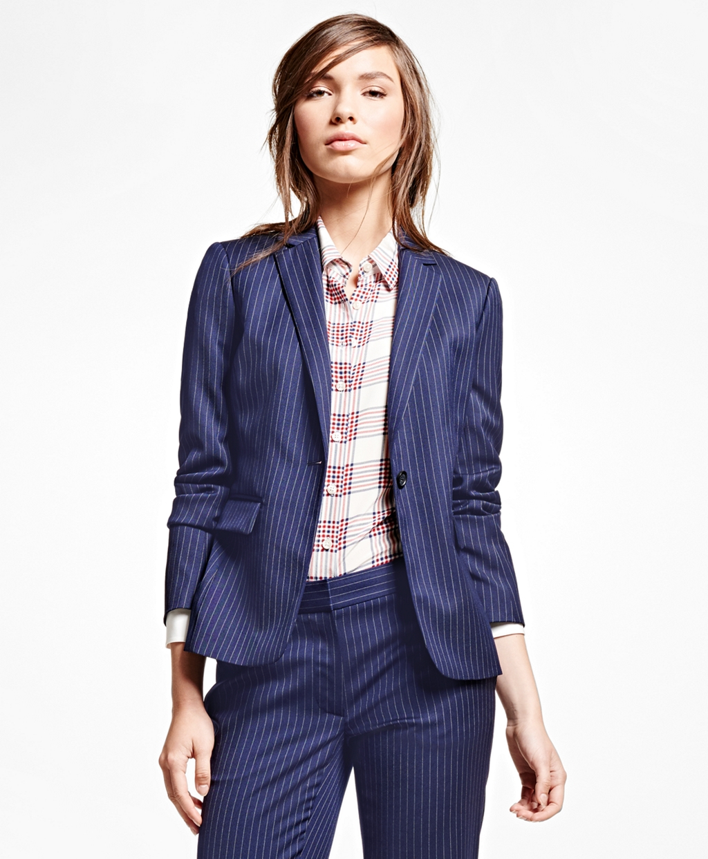 Brooks brothers Wool Blend Pinstripe Jacket in Blue