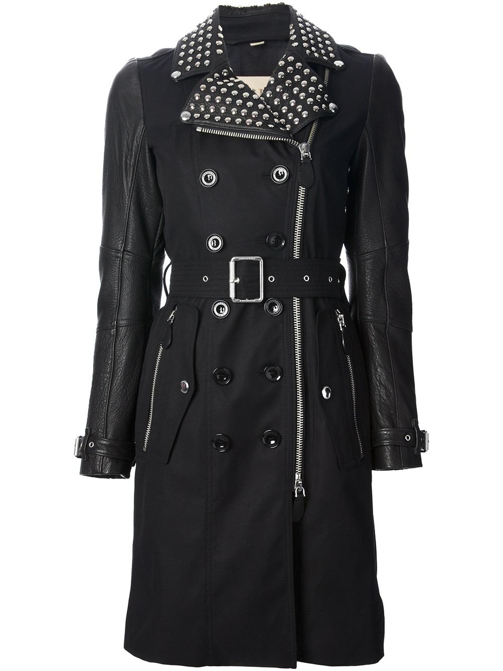 lyst burberry brit studded trench coat in black. Black Bedroom Furniture Sets. Home Design Ideas