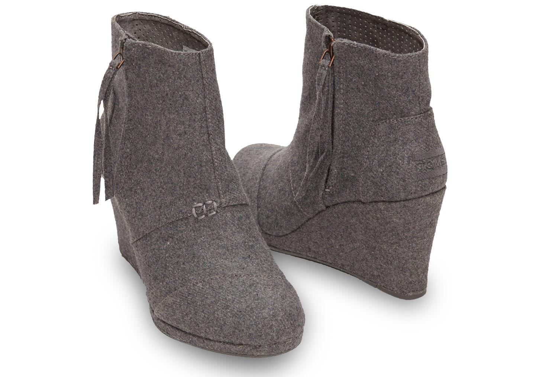 40b7192b6eb Lyst - TOMS Grey Wool Women s Desert Wedge Highs in Gray
