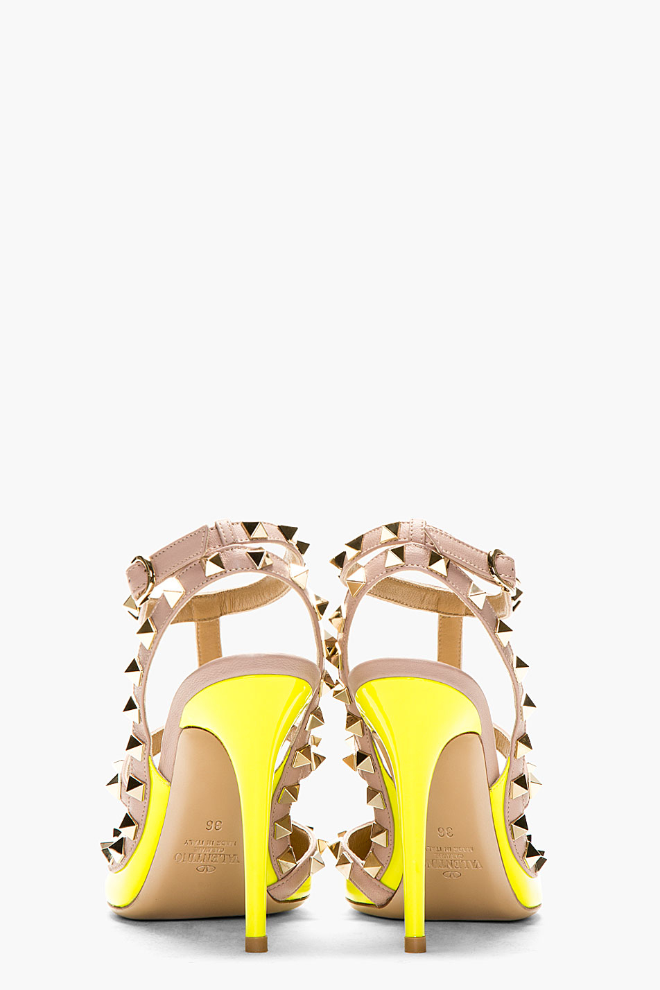 Valentino Neon Yellow Patent Rockstud Strapped Heels in ...