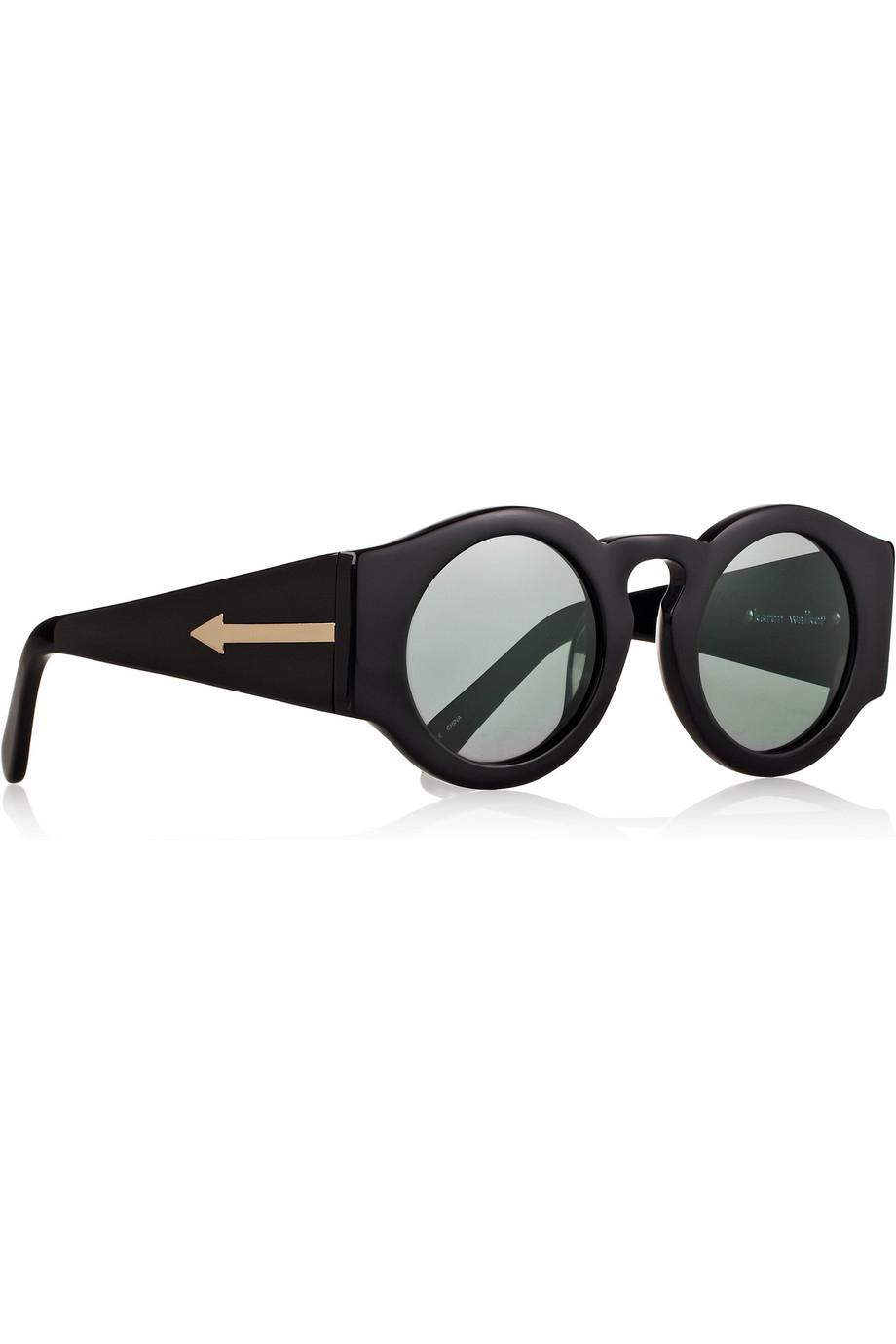 Karen Walker Blue Moon Round-Frame Acetate Sunglasses in Black - Lyst