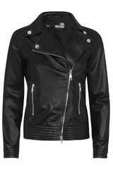 Love Moschino Leather Biker Jacket