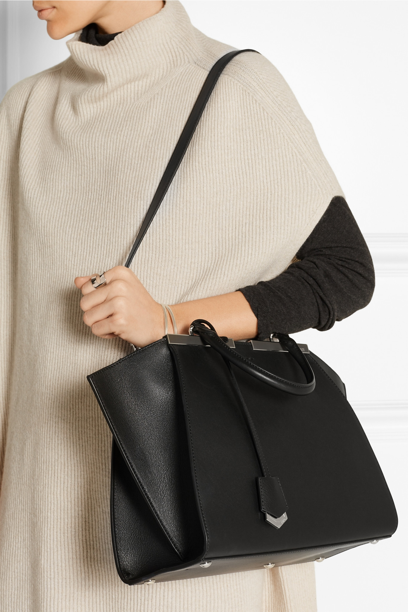 99533cc5298d ... inexpensive fendi 3jours medium leather tote in black lyst 742e6 a76fa