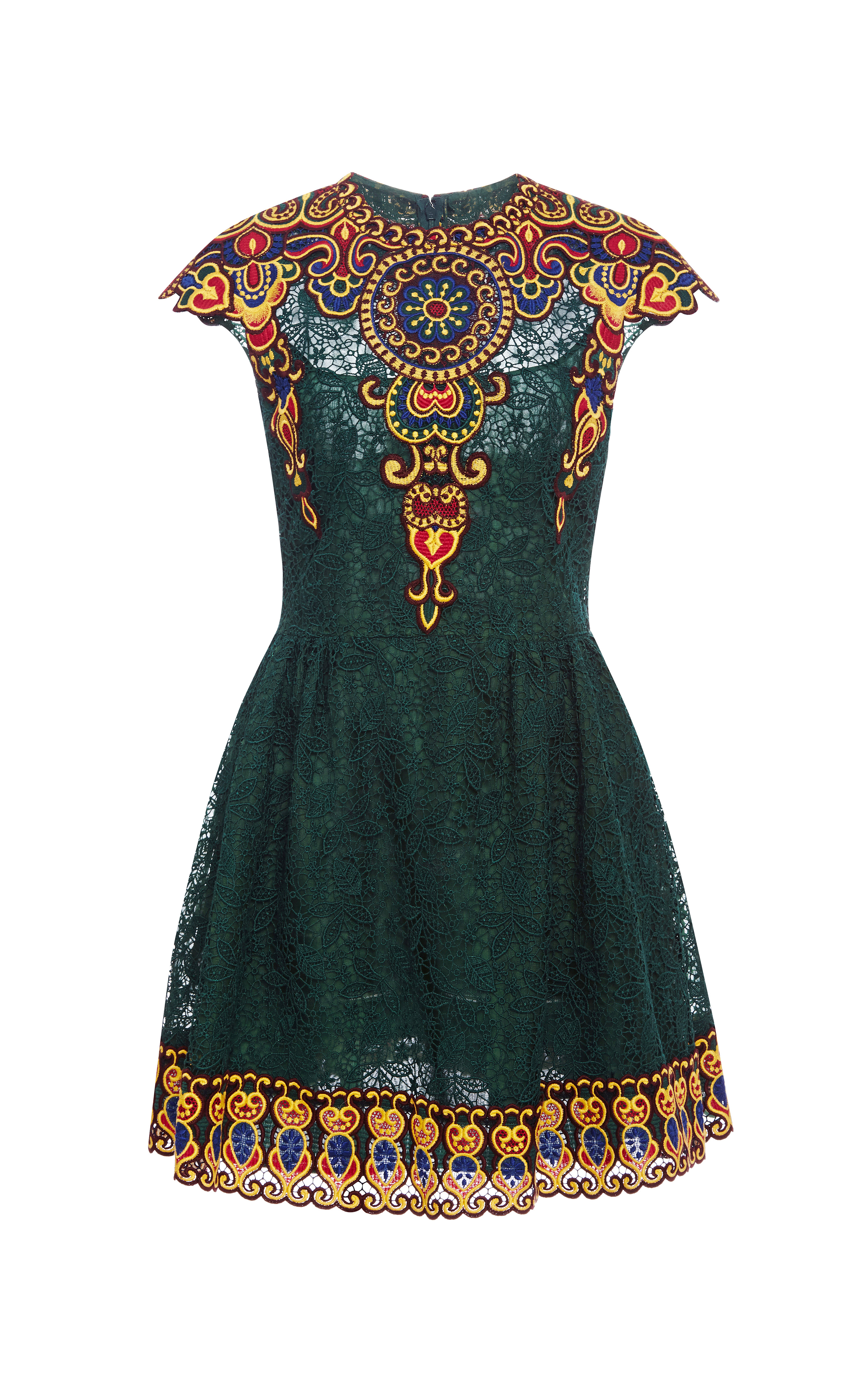 Valentino embroidered lace dress in green lyst