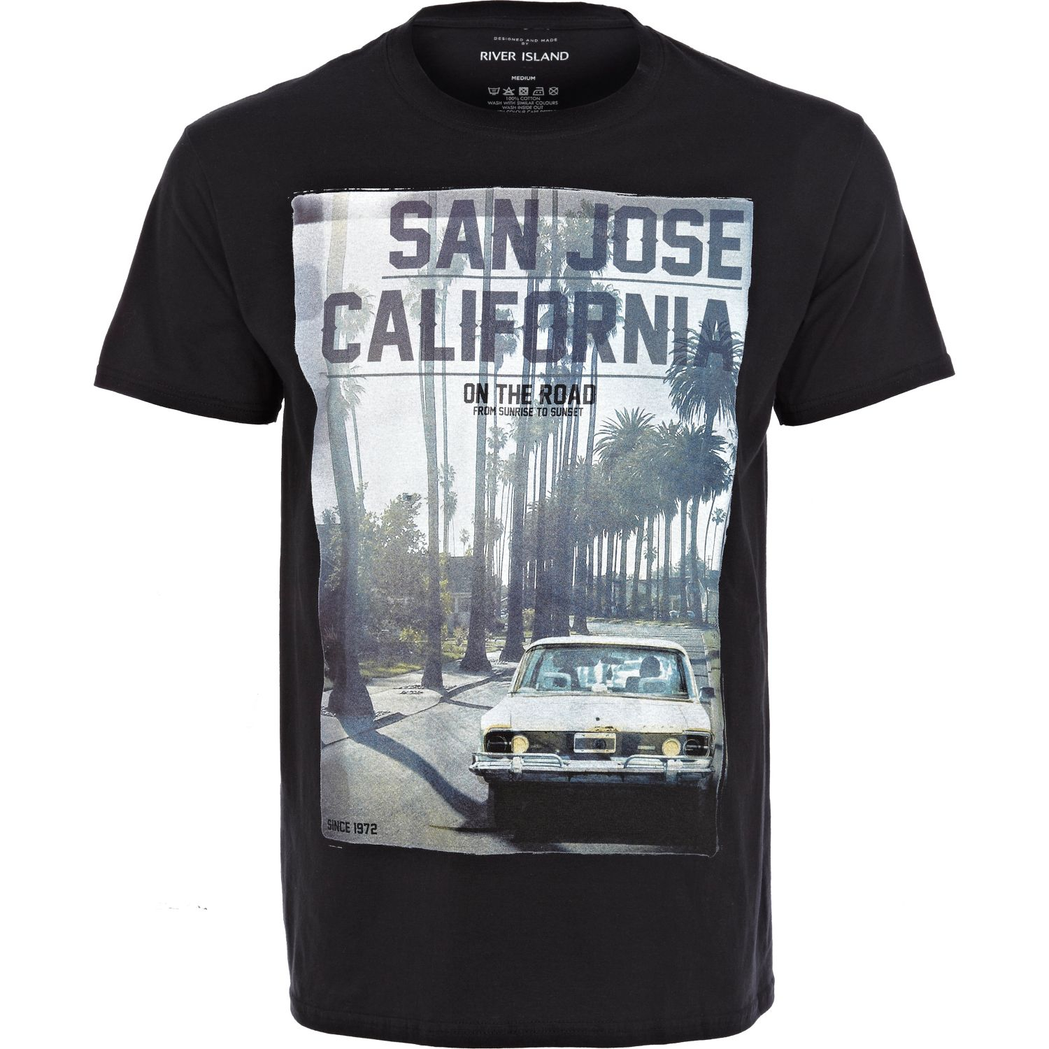 river island black san jose california tshirt in black for men lyst. Black Bedroom Furniture Sets. Home Design Ideas