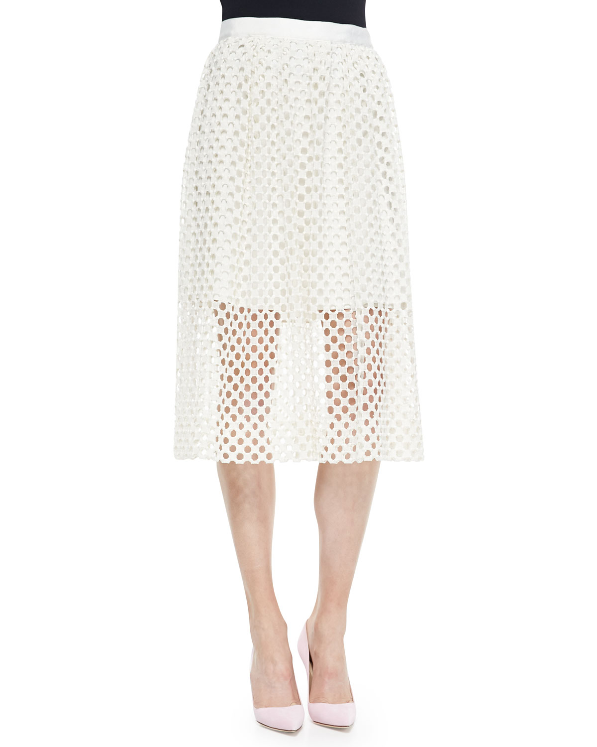 Lela rose Lace Mid Skirt in White | Lyst