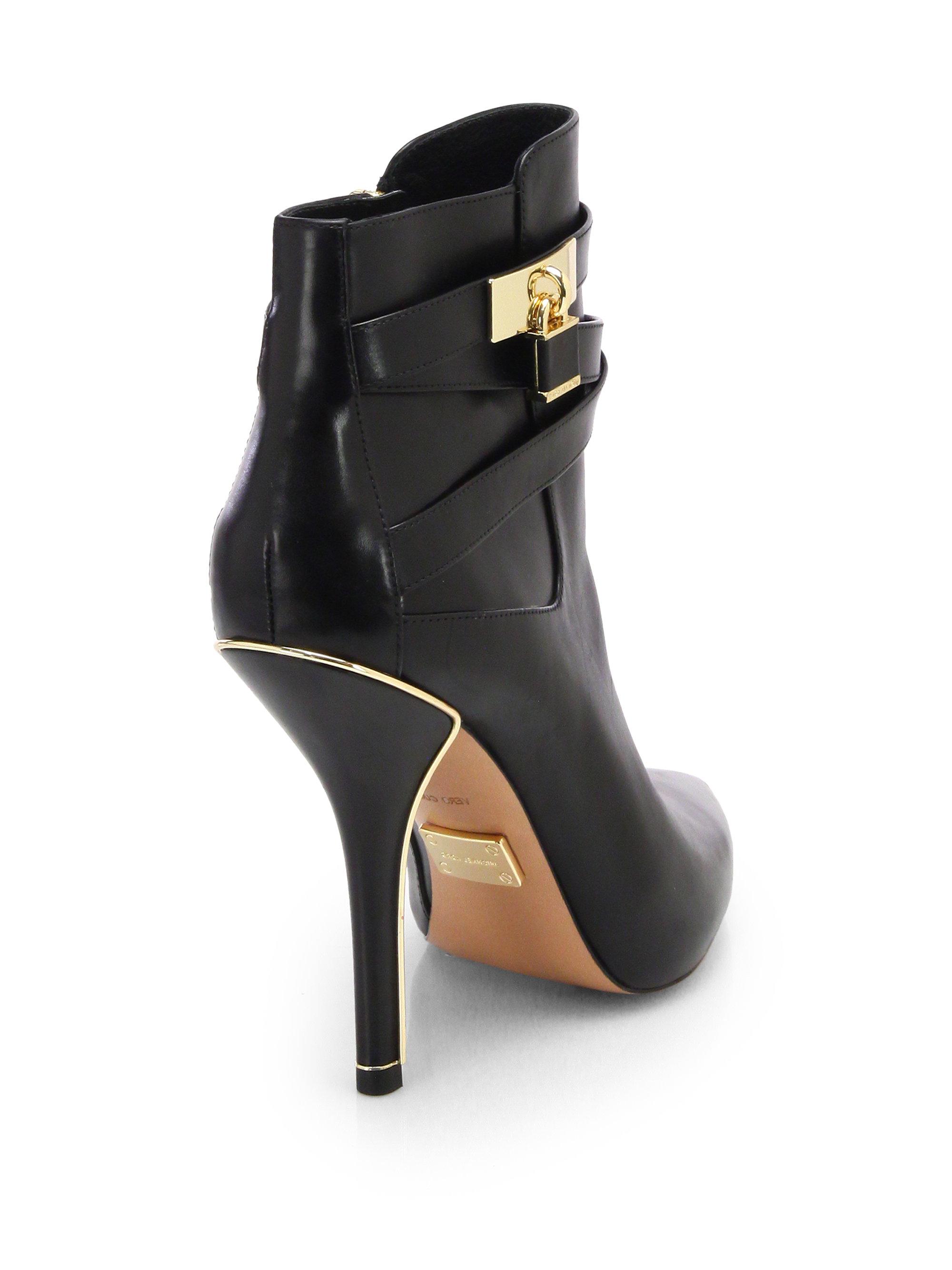 michael kors averie leather booties in black lyst. Black Bedroom Furniture Sets. Home Design Ideas