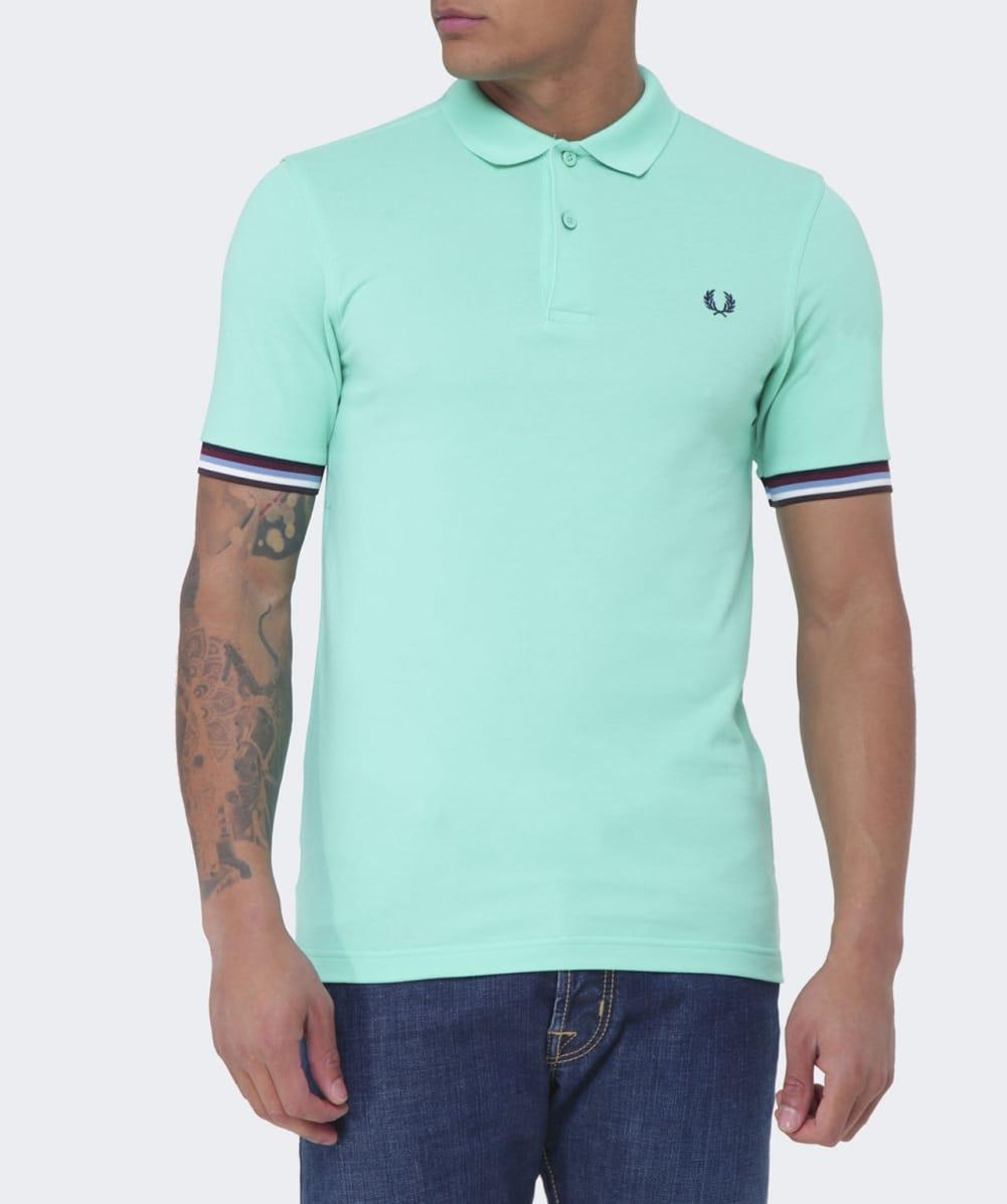 Lyst - Fred Perry Bradley Wiggins Striped Cuff Polo Shirt in Green ... f4f4d13be