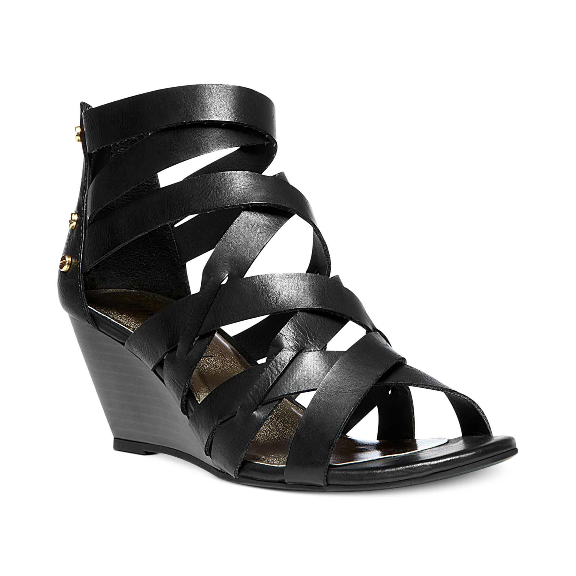 Madden Girl Hiighfiv Wedge Sandals in Black | Lyst
