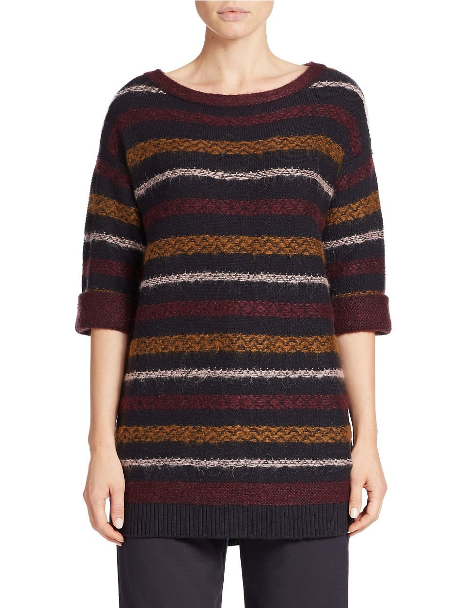 424 fifth Reverse Fair Isle Tunic Sweater | Lyst