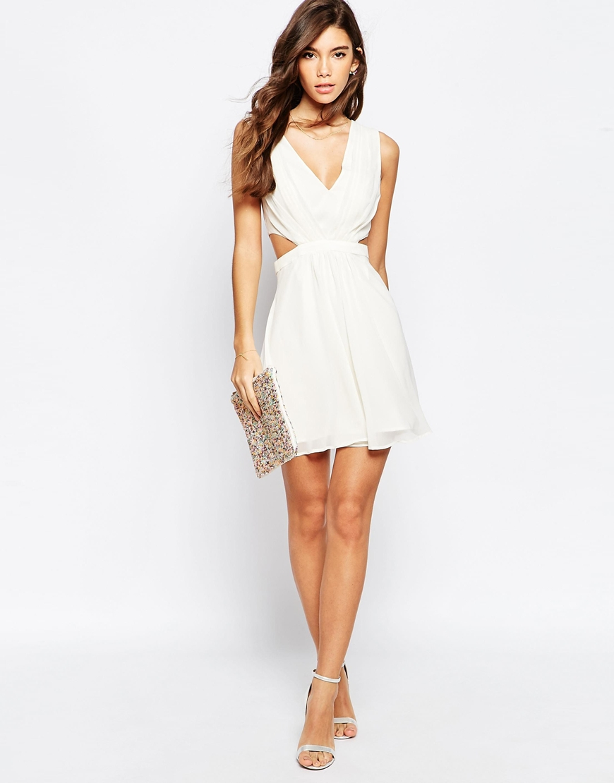 Asos Side Cut Out Mini Dress in White | Lyst