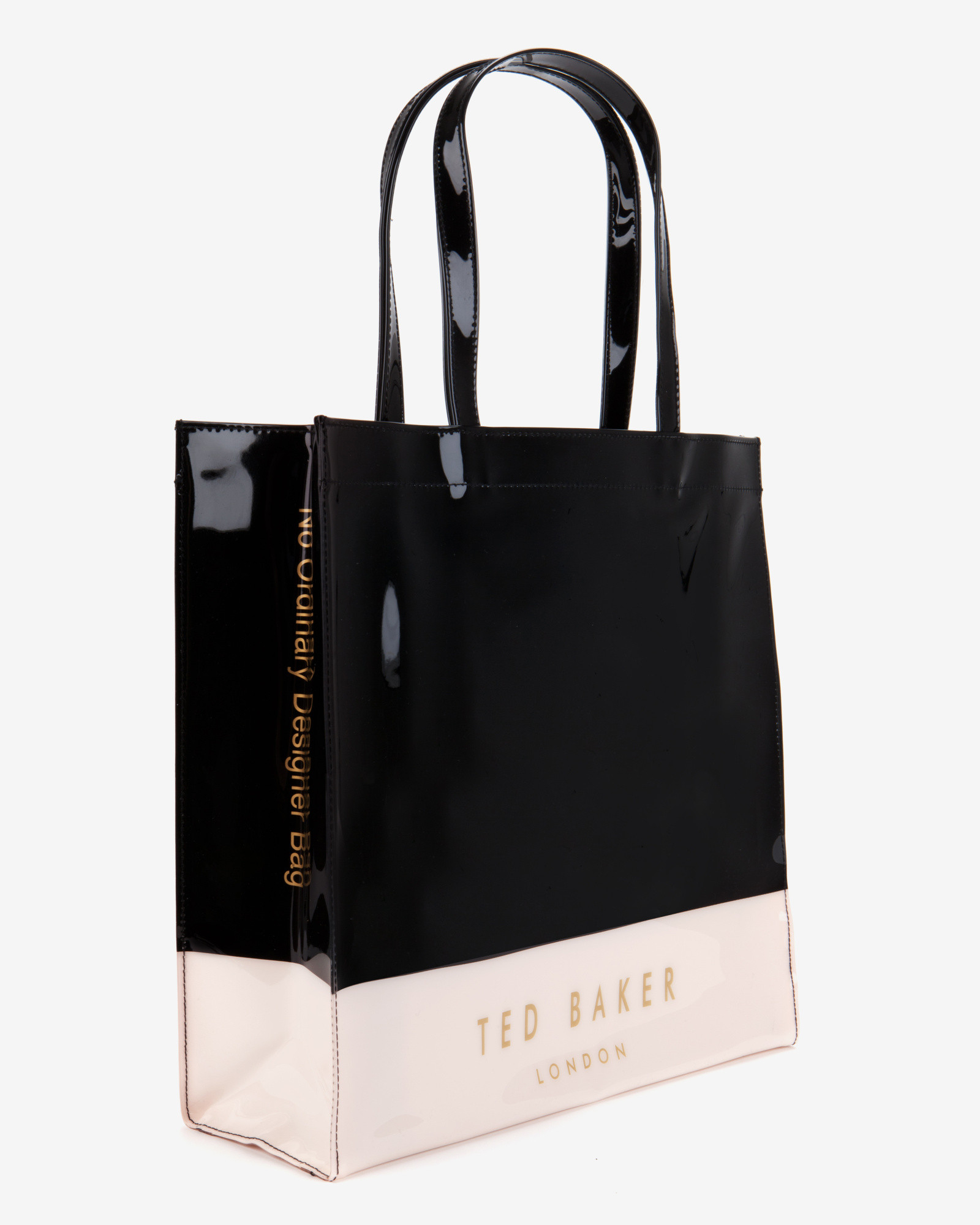 lyst ted baker large color block shopper bag in black
