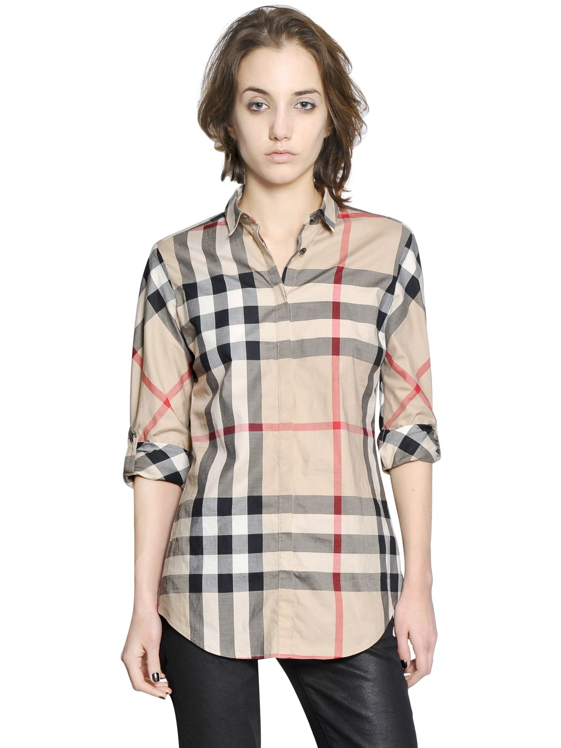 Burberry brit checked shirt in brown lyst for Burberry brit green plaid shirt