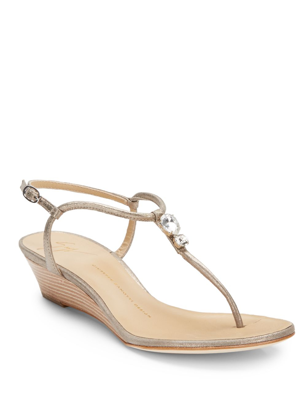 414e9cb8da95a8 Lyst - Giuseppe Zanotti Jeweled Low Wedge Thong Sandals in Natural