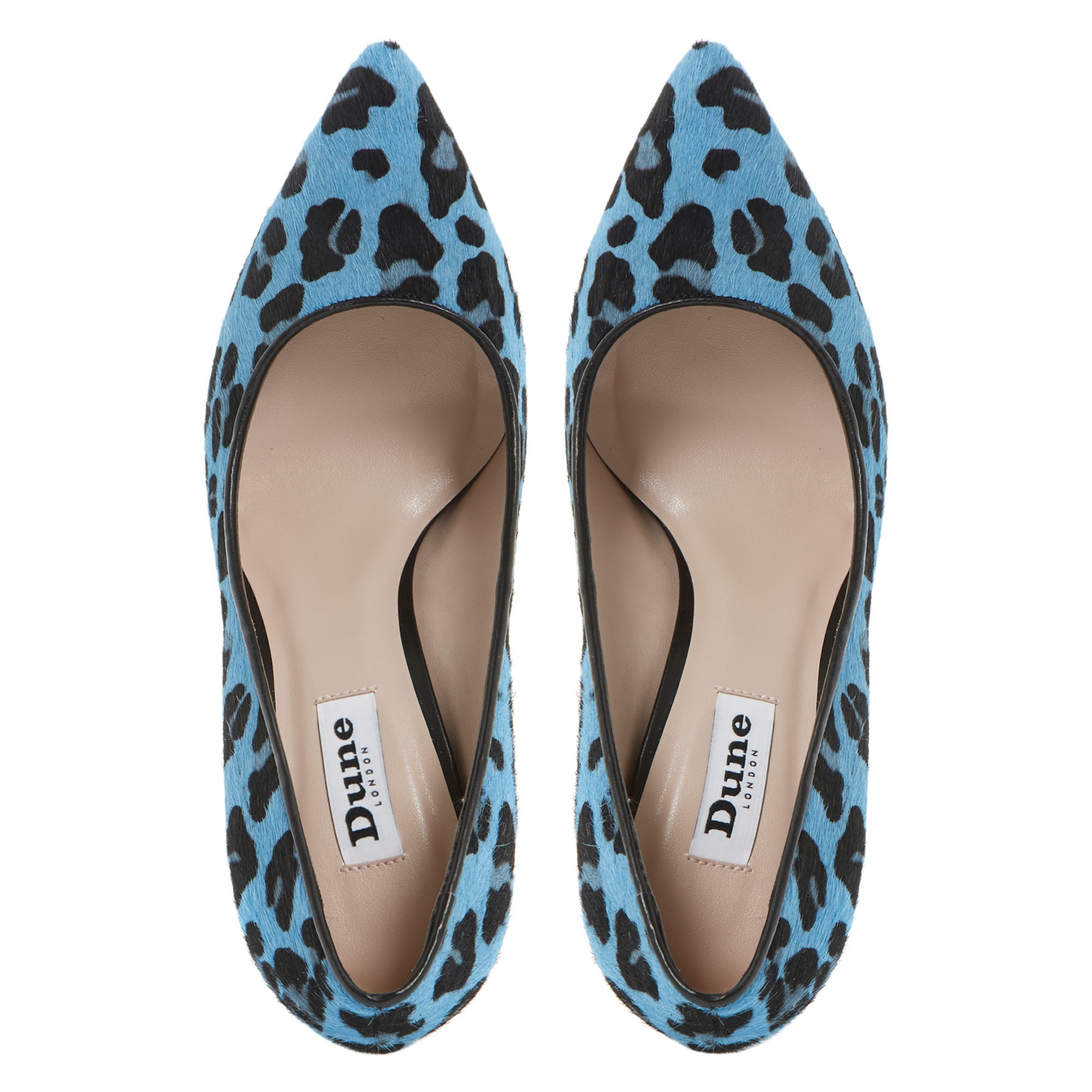 cae4dab8754 Dune Anabel Leopard Print Pony Pointed Toe Court Shoes in Blue - Lyst