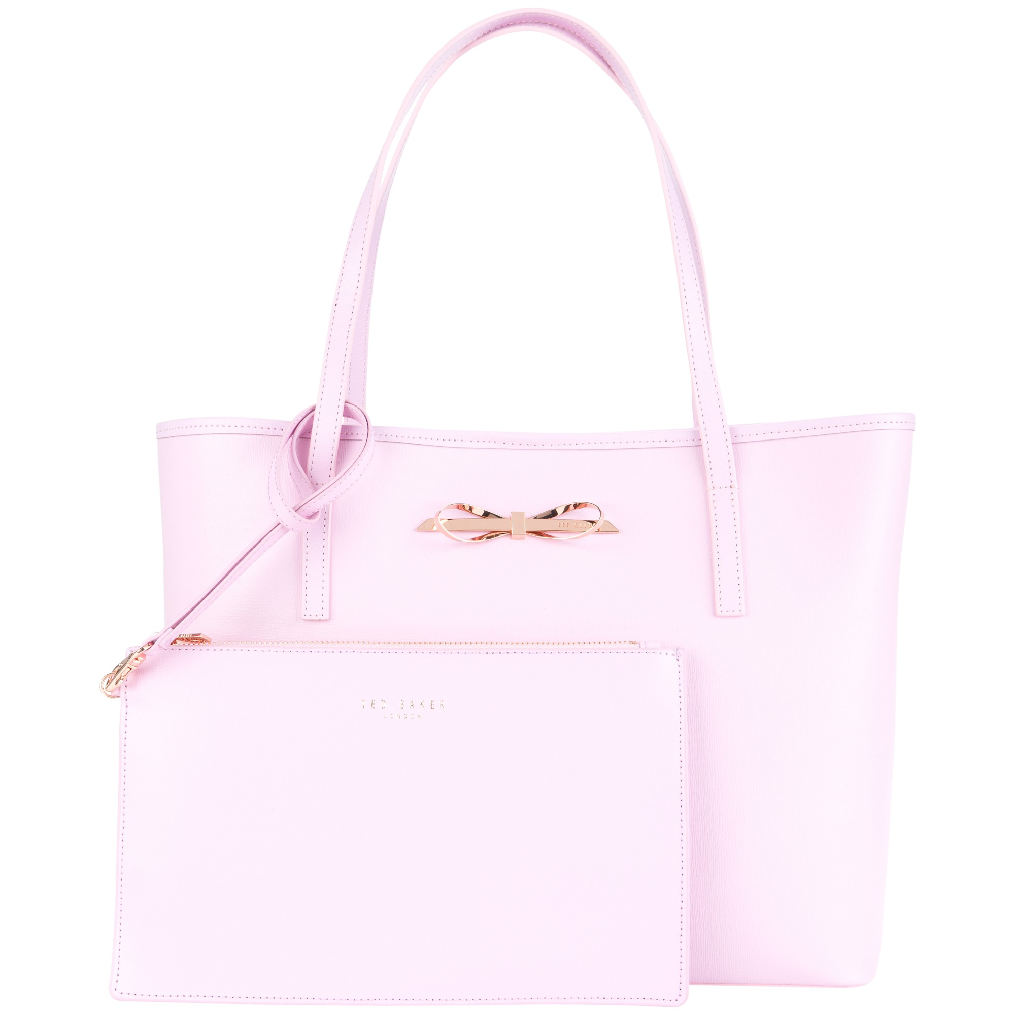 f98a30edf Ted Baker Isabow Crosshatch Leather Bow Shopper Bag in Pink - Lyst