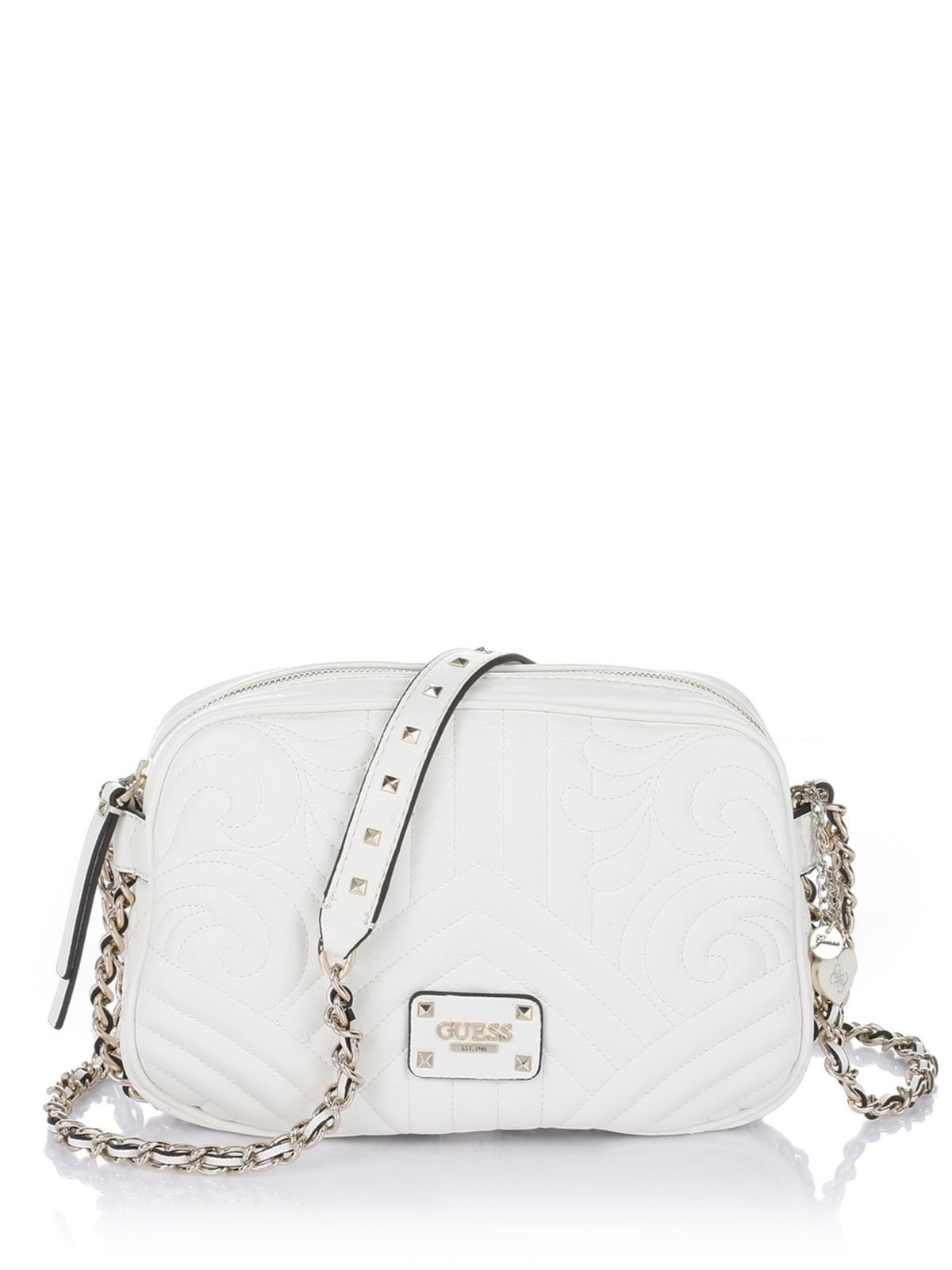 Guess Quilting Rose Crossbody Top Zip Bag In White Cream