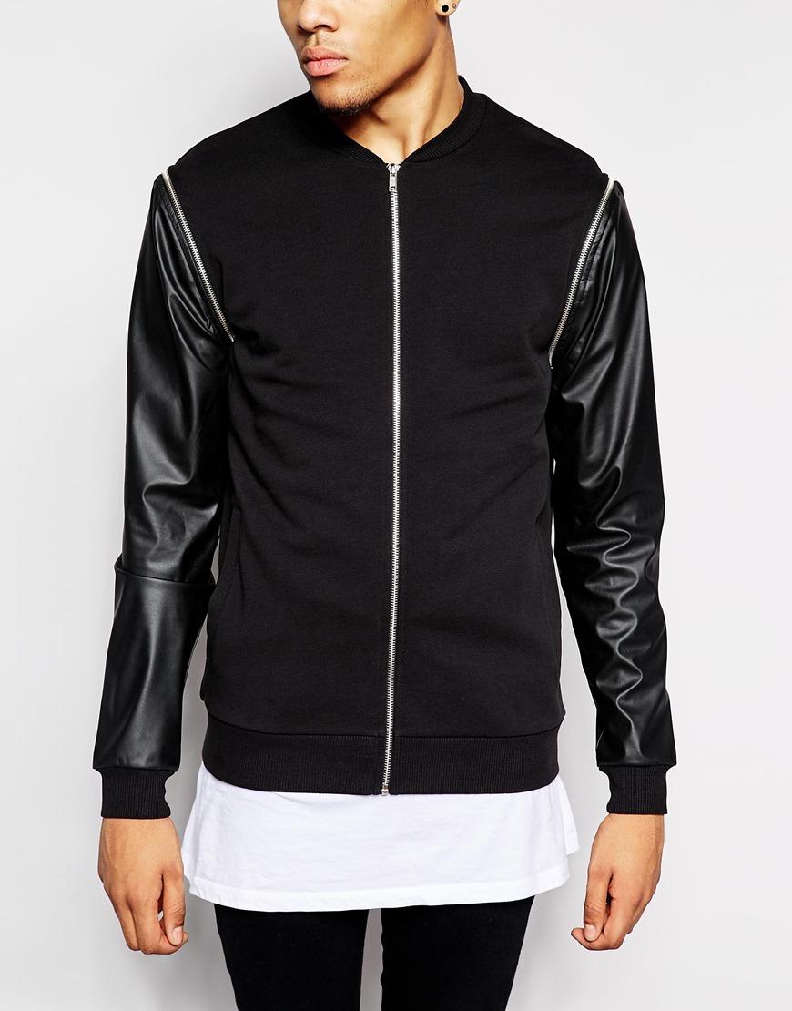 Bomber jacket leather sleeves