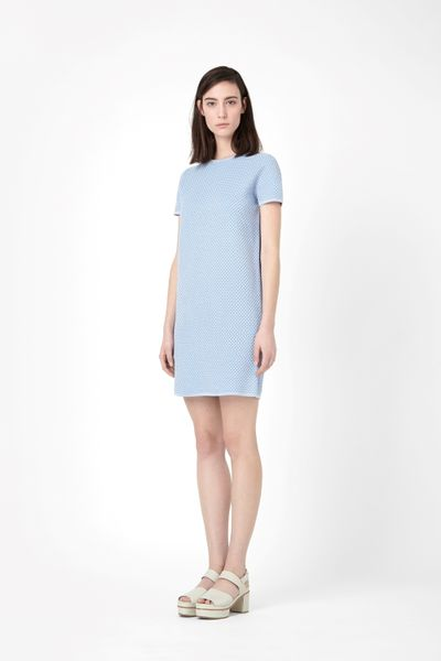 Cos Structured Knit Dress In Blue Sky Blue Lyst