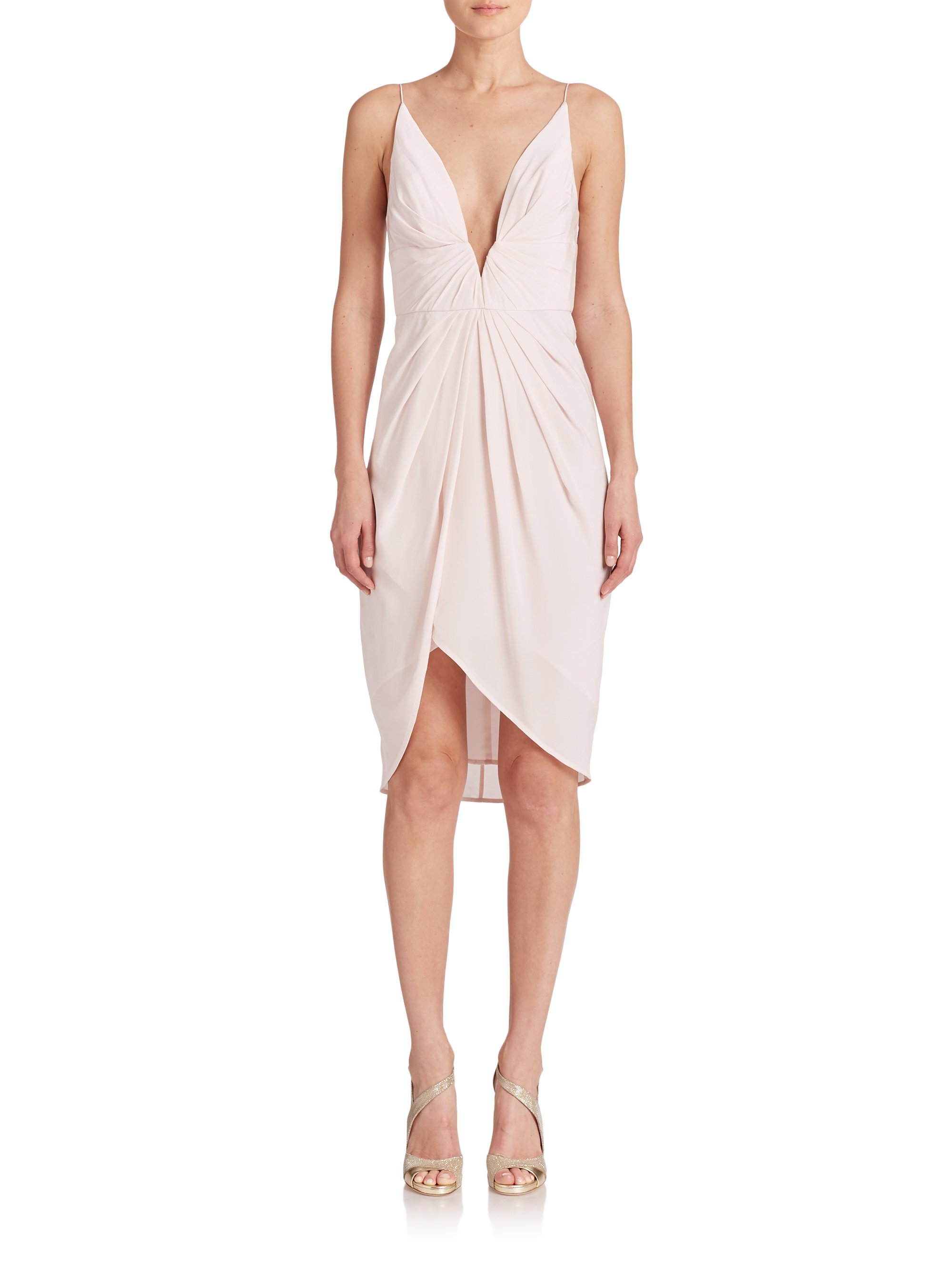 Lyst Zimmermann Silk V Tuck Dress In Pink