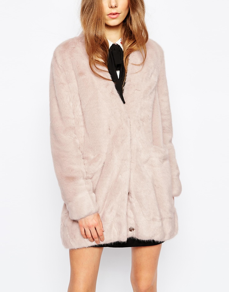 Urbancode Faux Fur Cardigan With Pockets in Natural | Lyst