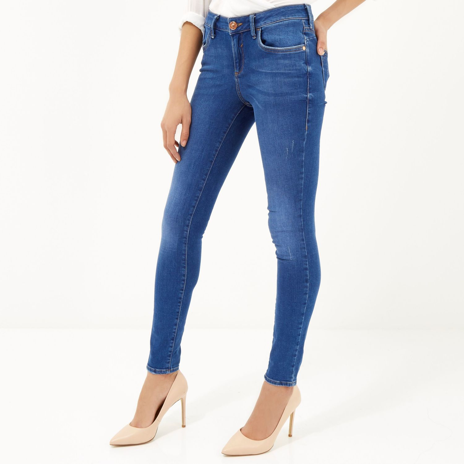 Bright Blue Skinny Jeans - Jeans Am