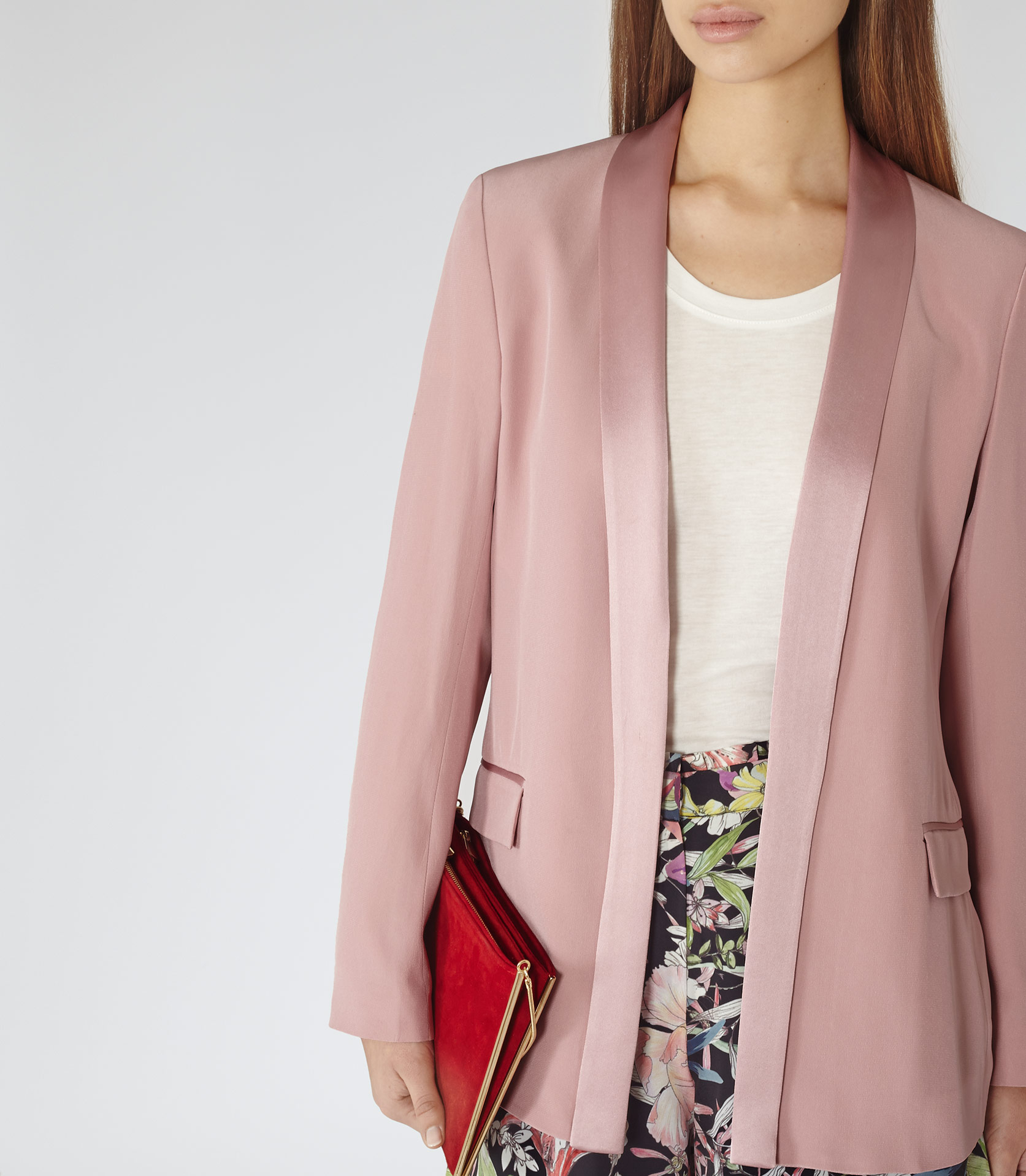 Reiss Charlize Sharply Tailored Jacket in Pink | Lyst