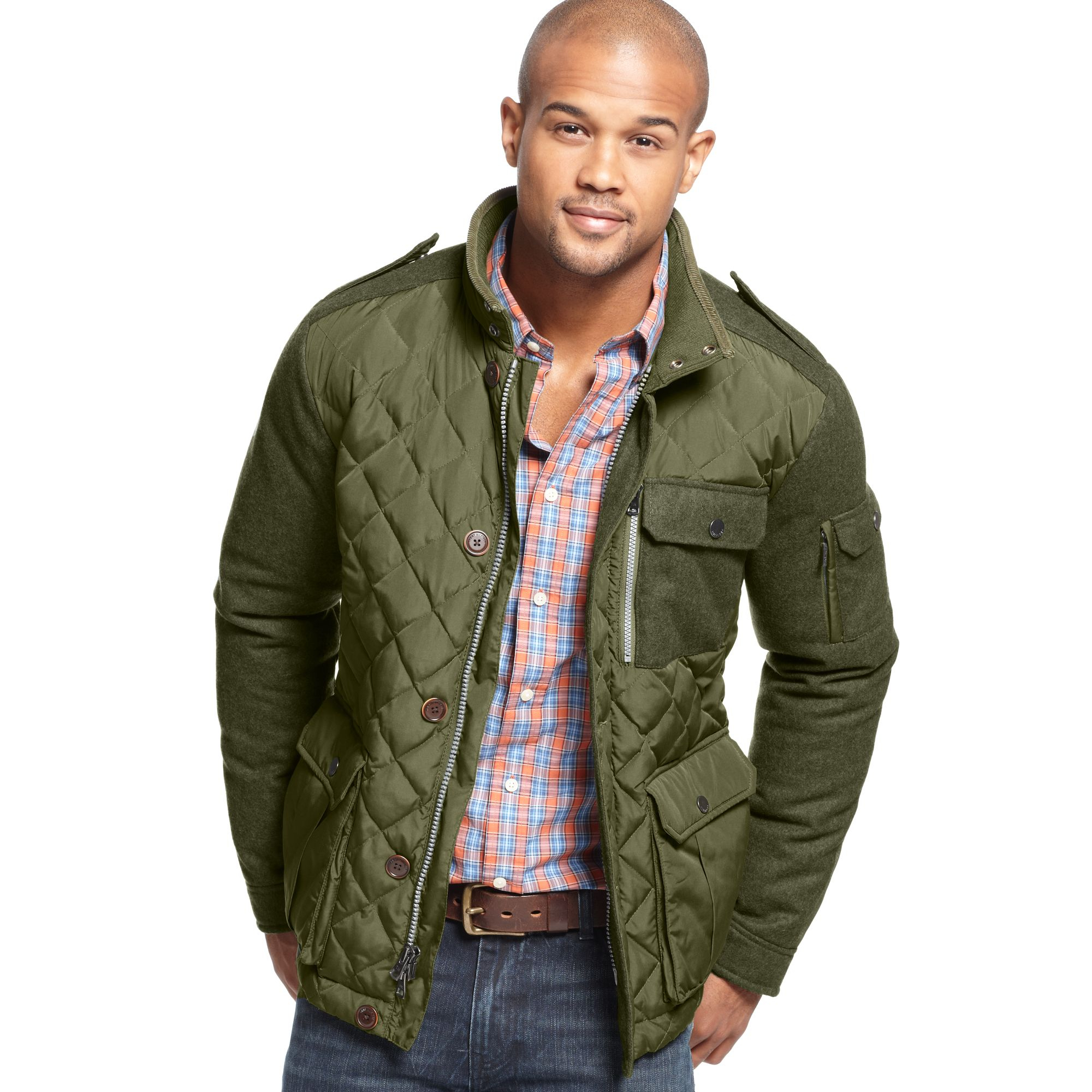 Tommy hilfiger Monty Quilted Car Coat in Green for Men | Lyst