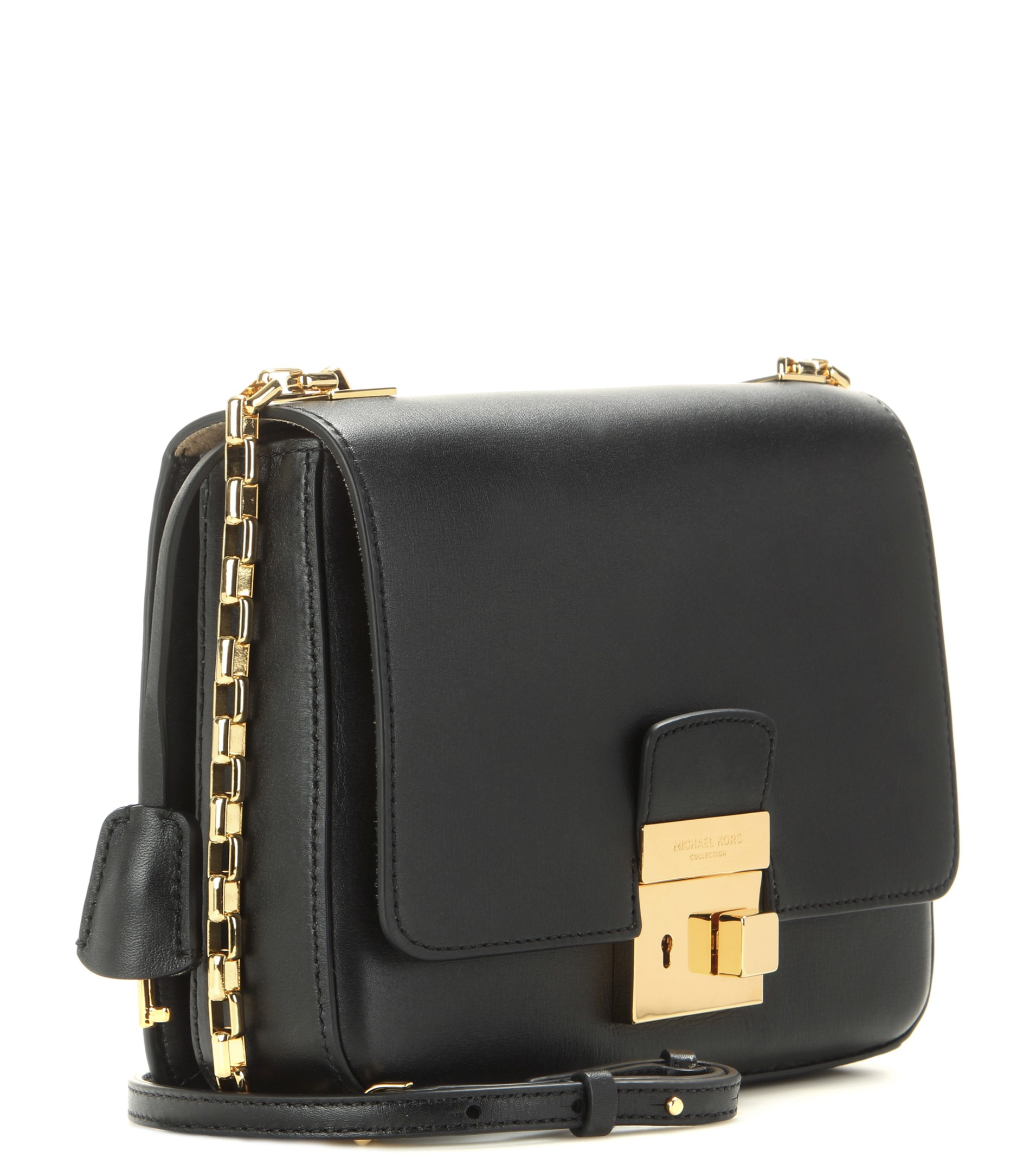ab4a5e058b4f Lyst - Michael Kors Gia Leather Shoulder Bag in Black