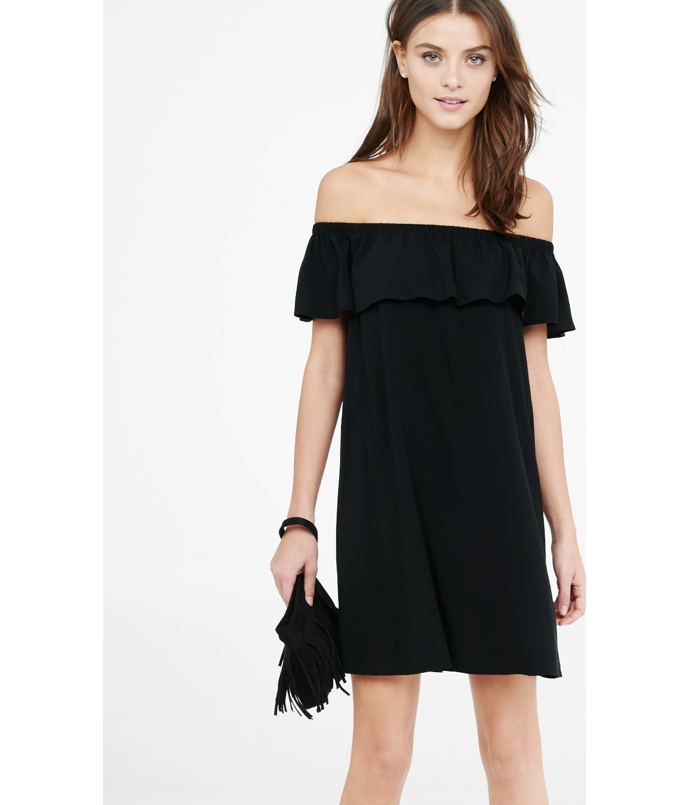 c1beac7ab7d7 Lyst - Express Off The Shoulder Ruffle Trapeze Dress in Black