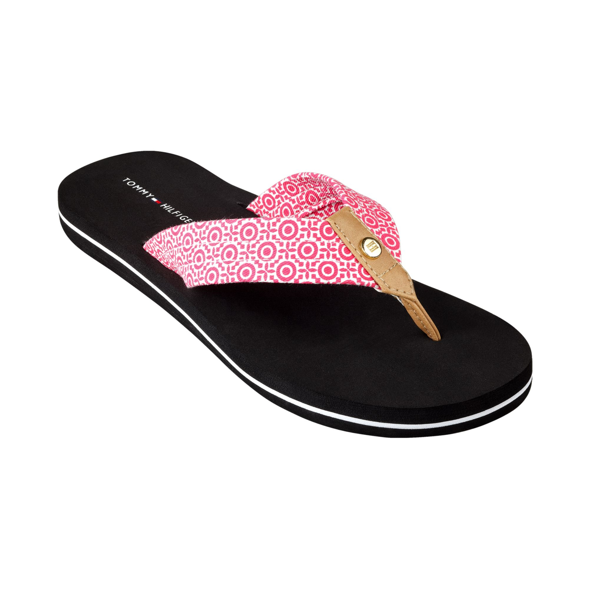 tommy hilfiger womens corrale flip flops in pink hot. Black Bedroom Furniture Sets. Home Design Ideas