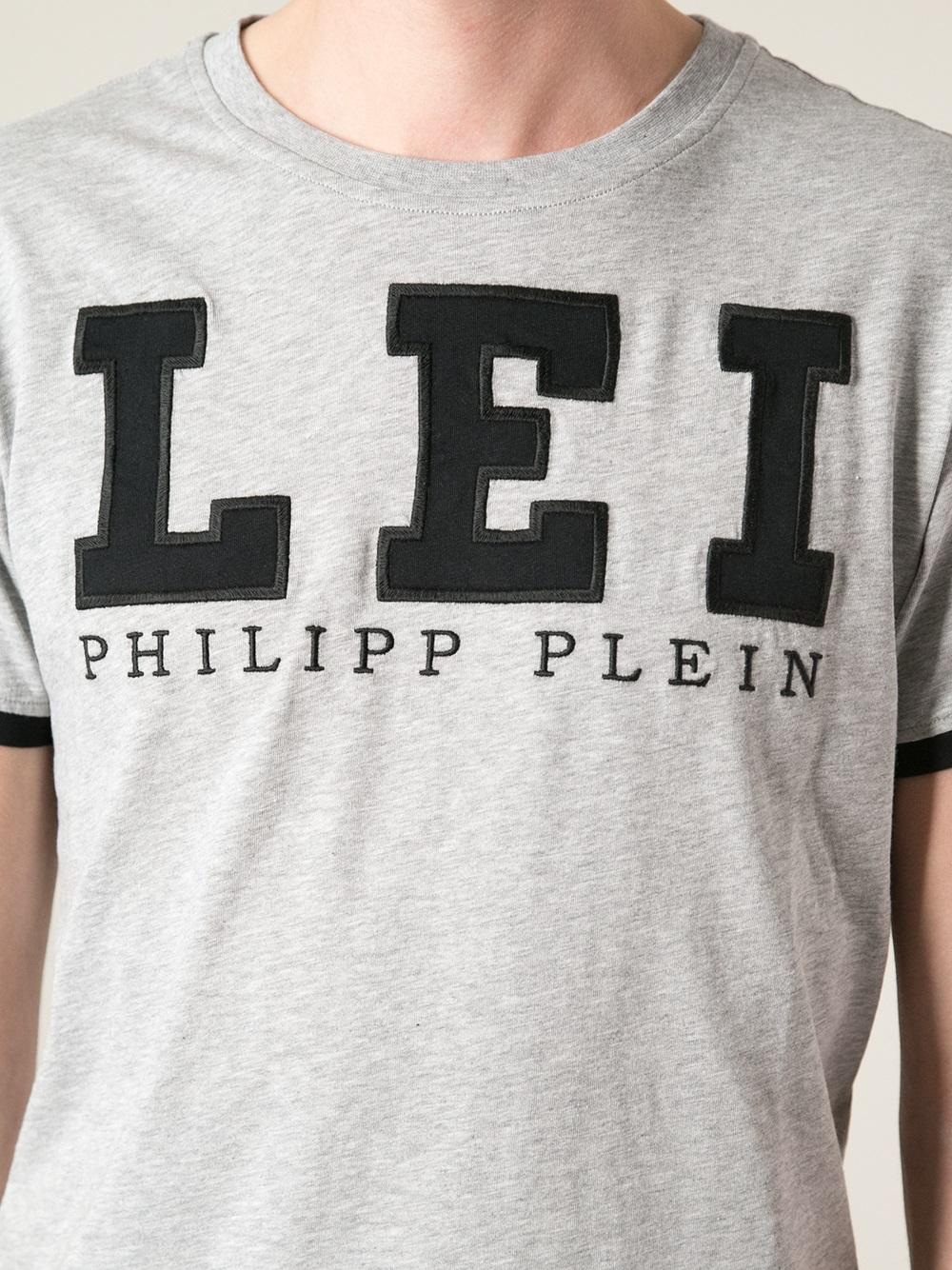 Lyst Philipp Plein Logo Patch T Shirt In Gray For Men