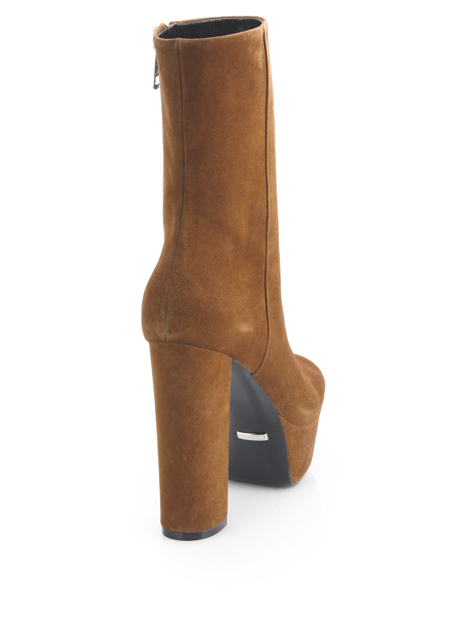 gucci claudie suede platform ankle boots in brown lyst