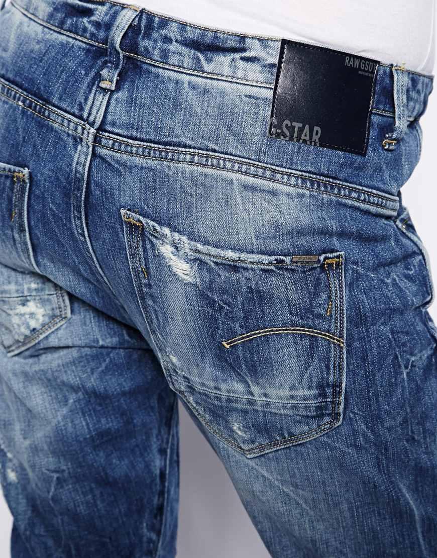g star raw arc 3d boyfriend jeans in blue lyst. Black Bedroom Furniture Sets. Home Design Ideas