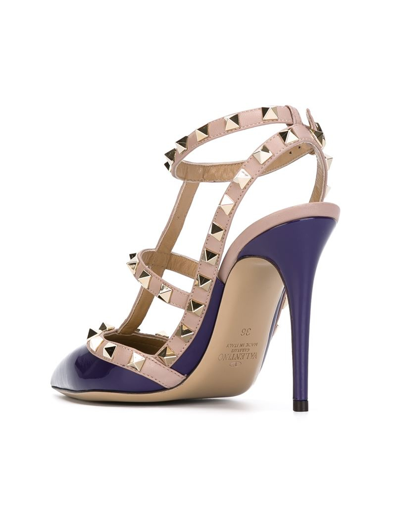 valentino 39 rockstud 39 pumps in purple lyst. Black Bedroom Furniture Sets. Home Design Ideas