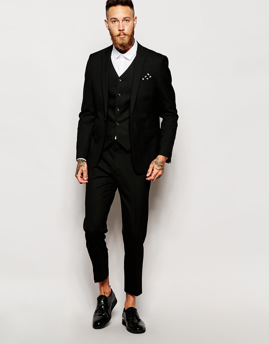 Asos Skinny Cropped Suit Trousers in Black for Men | Lyst