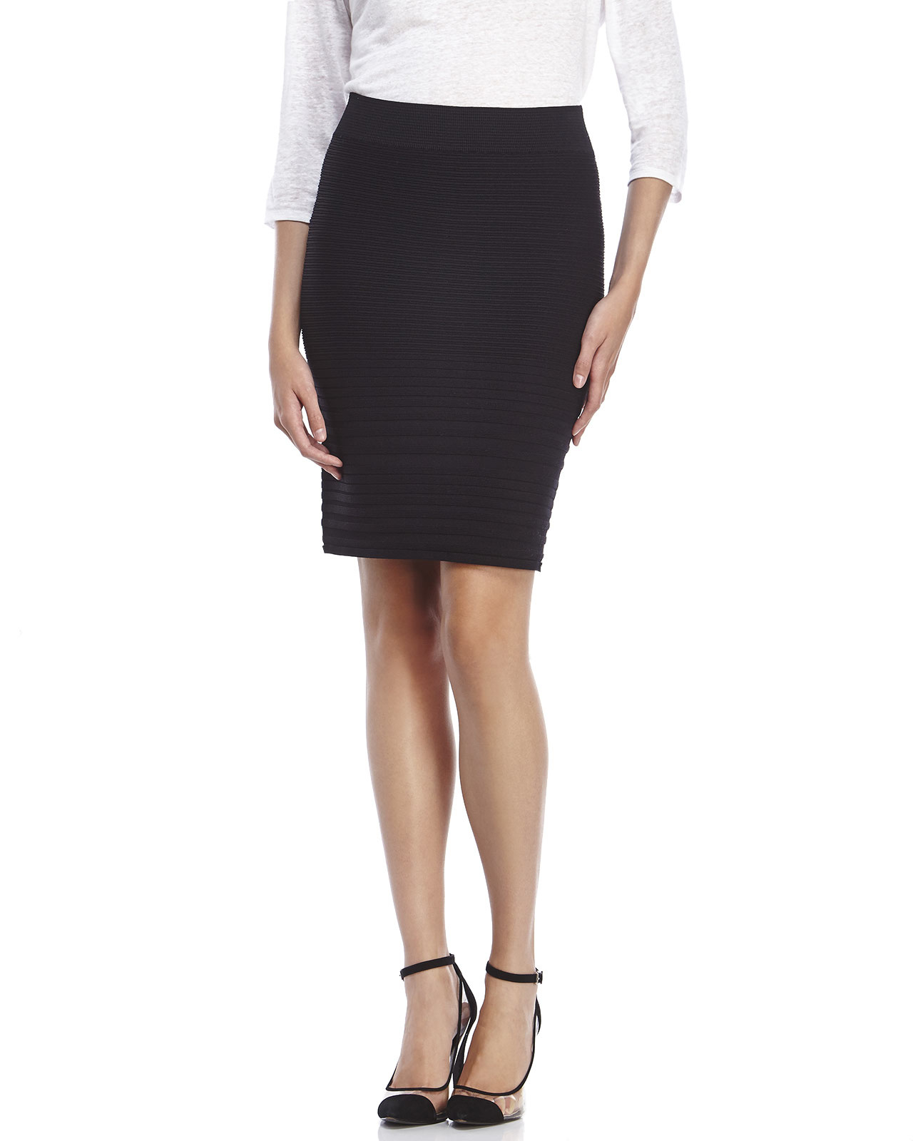dce822d8e3 Ivanka Trump Ribbed Pencil Skirt in Black - Lyst
