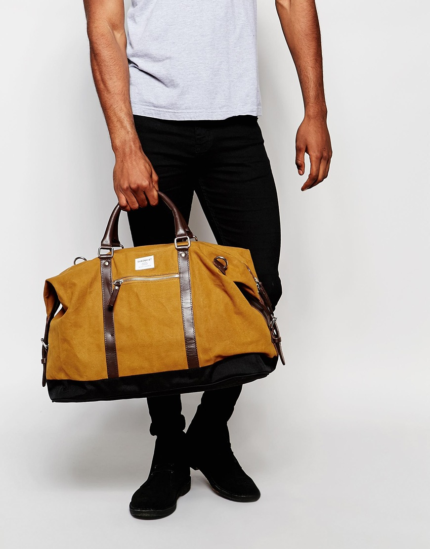 49ba11e3fe45 Lyst - Sandqvist Jordan Waxed Cotton Holdall in Natural for Men