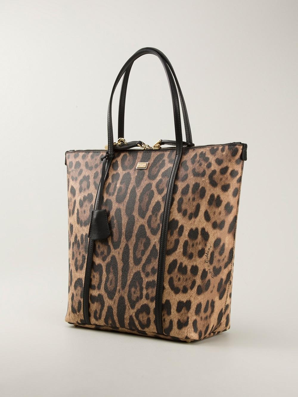 92134777ce Lyst - Dolce   Gabbana Leopard Print Shopping Bag