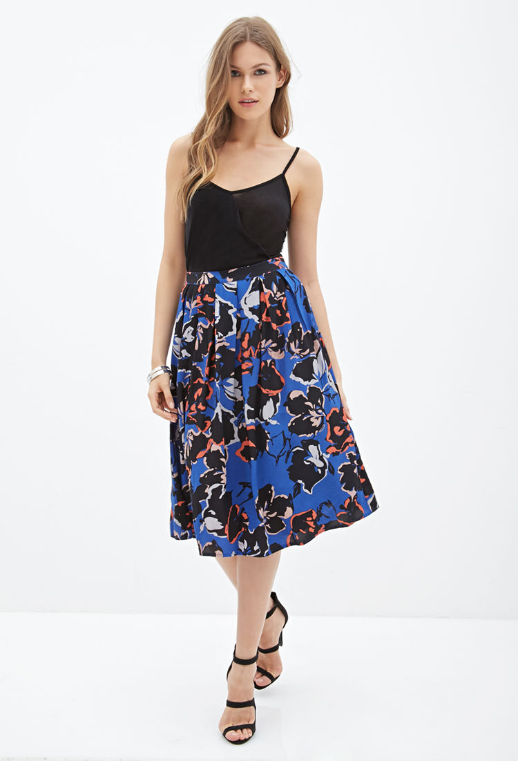 Forever 21 Pleated Floral Midi Skirt in Blue | Lyst