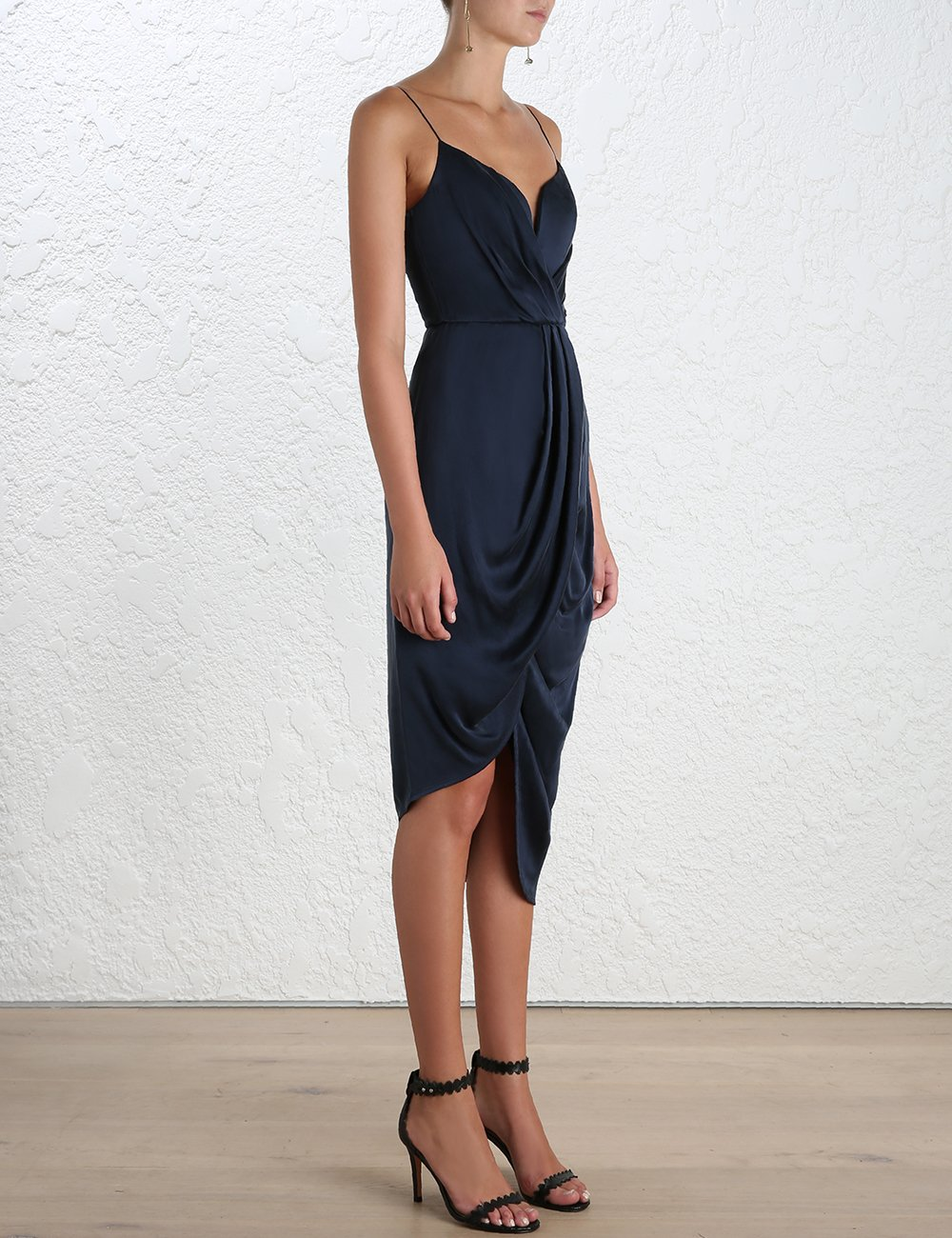 42345e88a8 Lyst - Zimmermann Draped Silk Dress in Blue