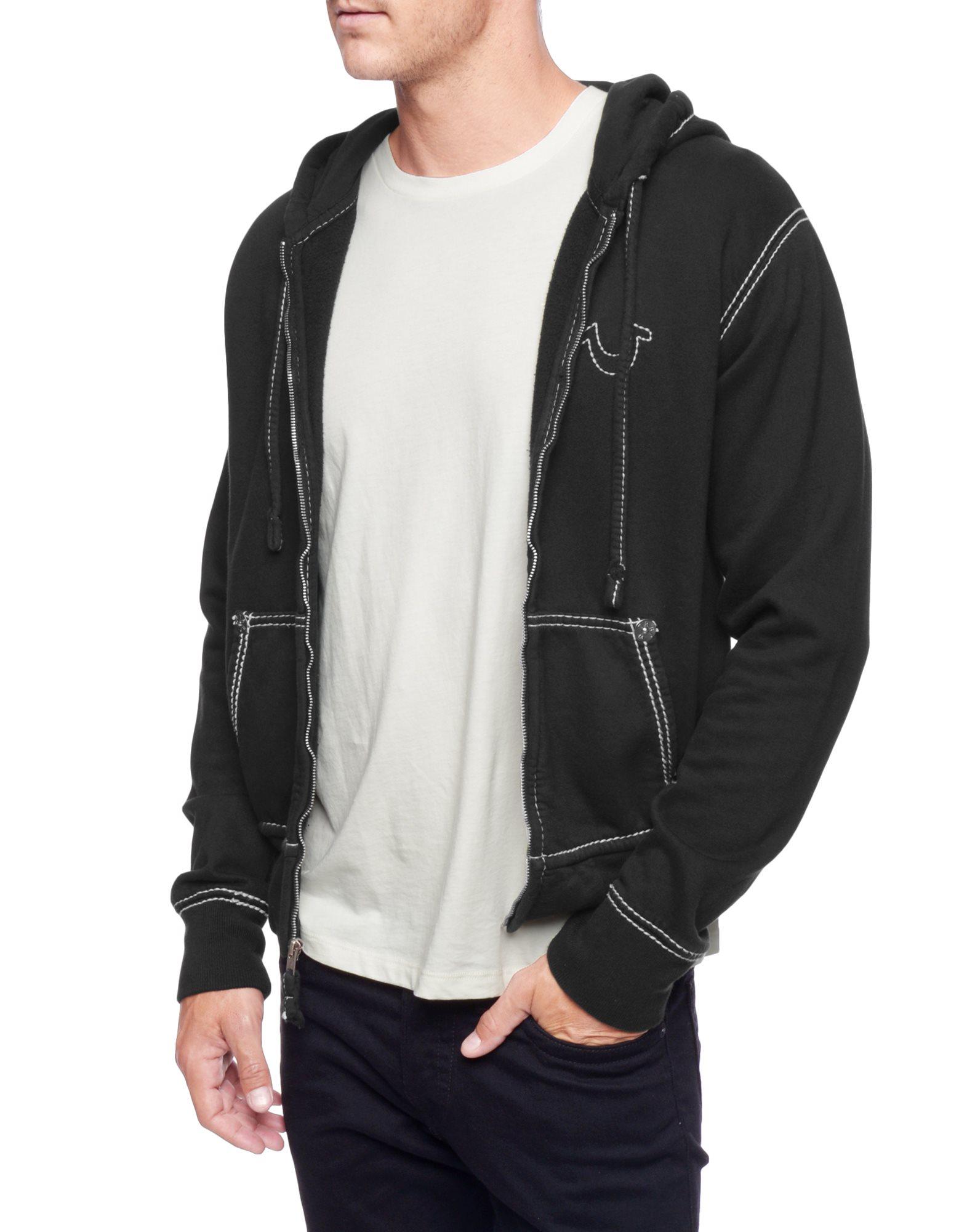 true religion l s contrast stitch big t hoodie in black for men lyst. Black Bedroom Furniture Sets. Home Design Ideas