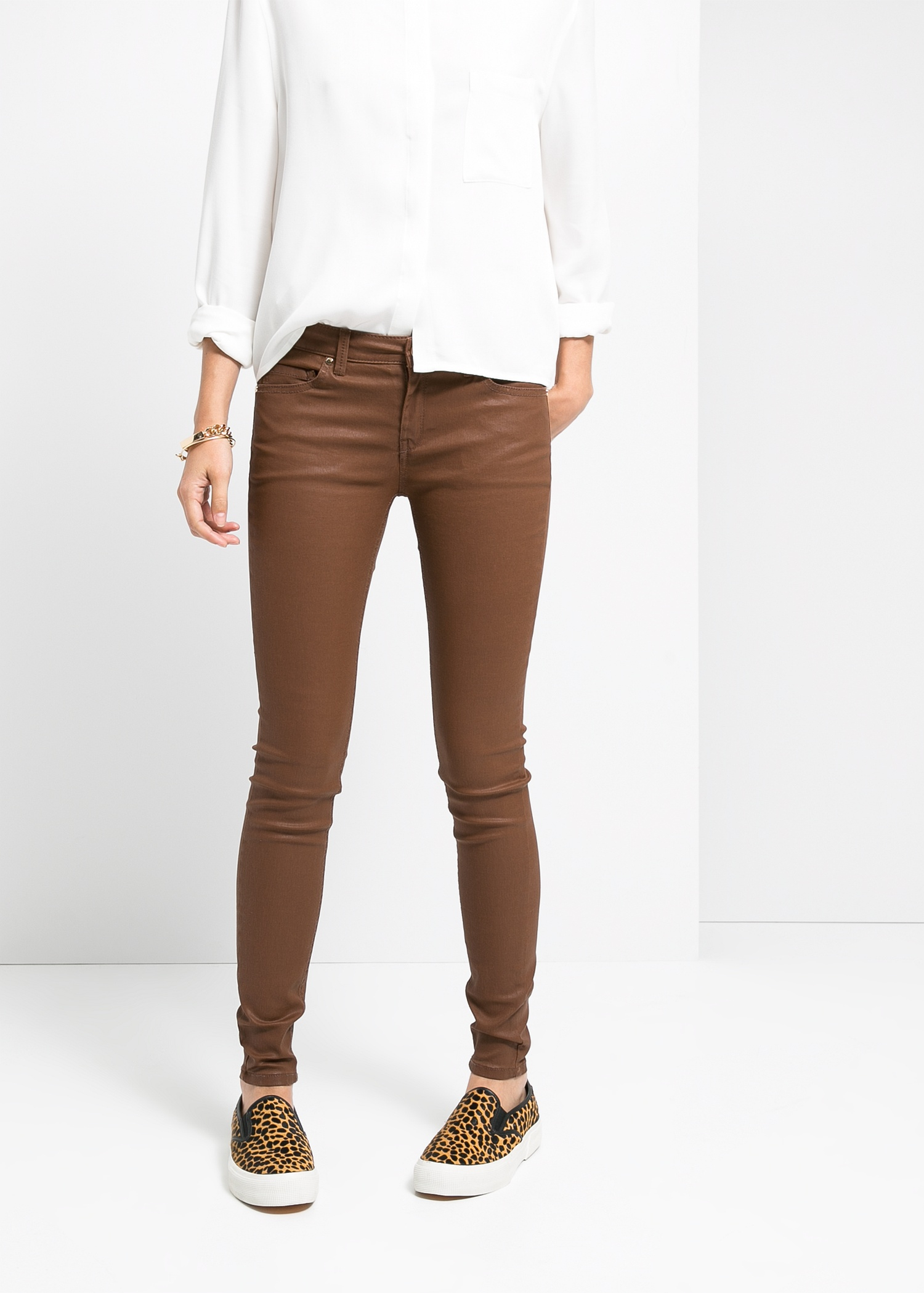 Mango Belle Skinny Jeans in Brown | Lyst