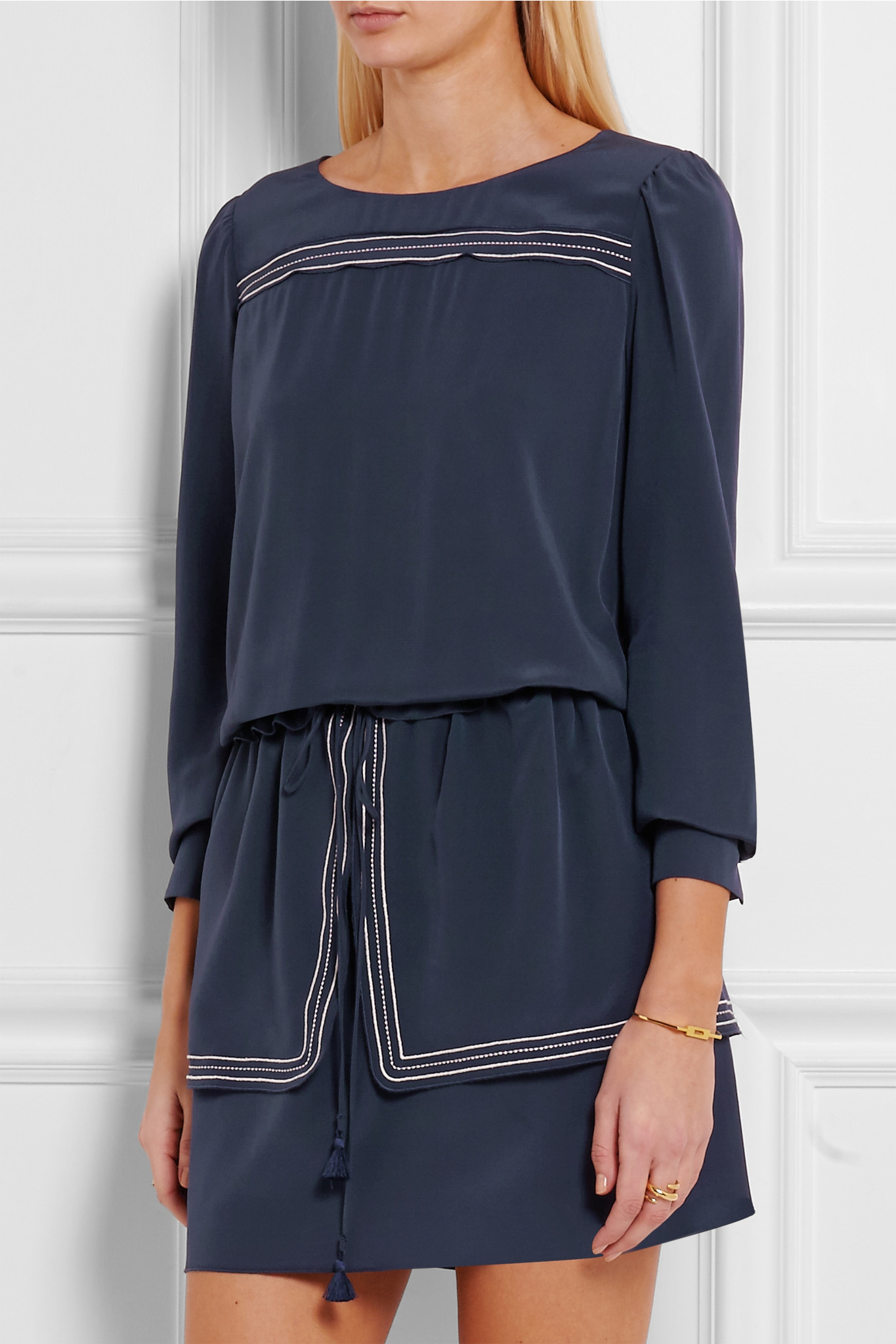 Discount Cheap Online Discount Marketable Ruffled Silk Crepe De Chine Dress - Navy See By Chloé Free Shipping 2018 Free Shipping 2018 New M35kTf3P